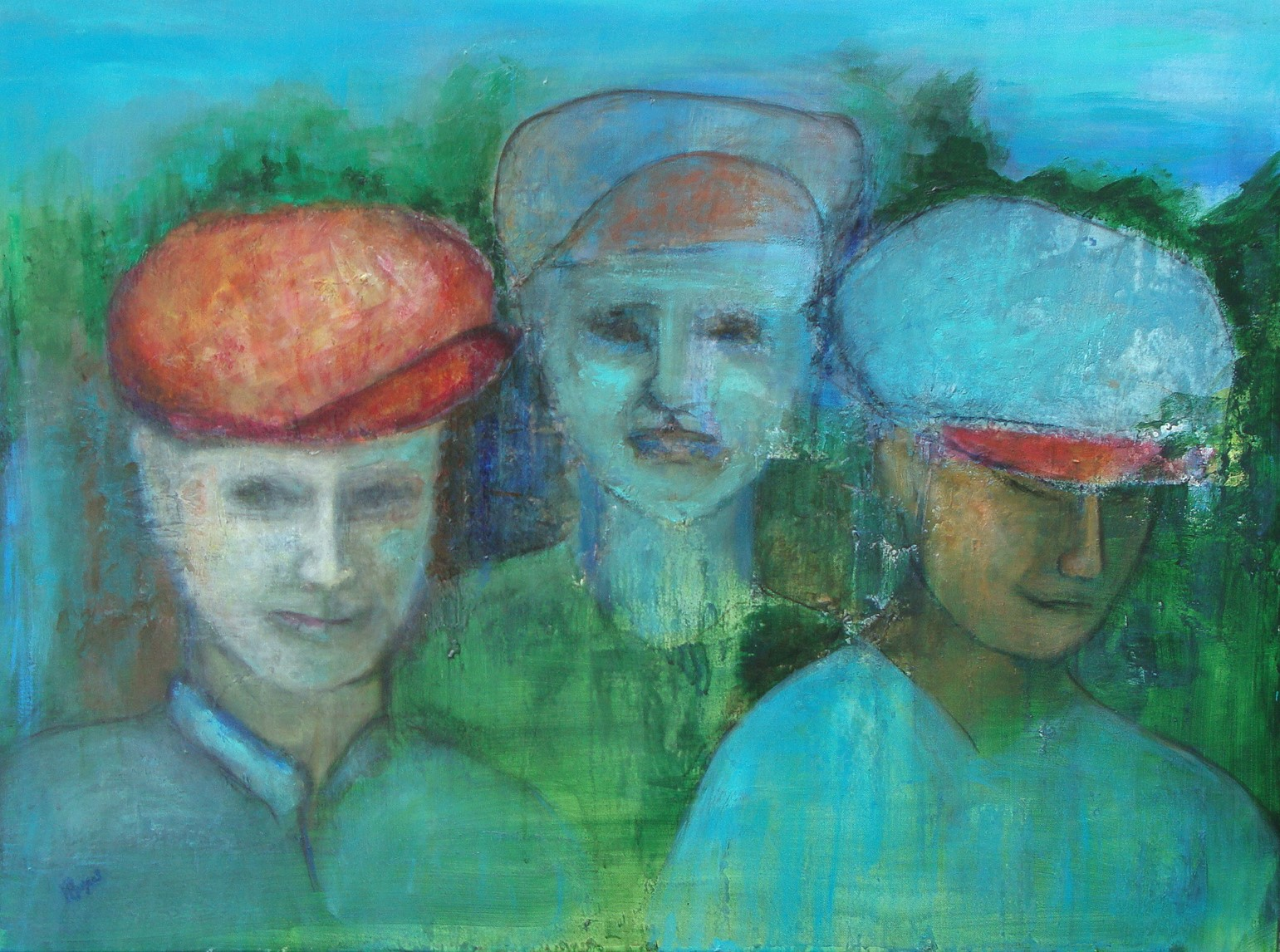"They All Wore Hats   30"" x 40"" - acrylic and charcoal on canvas"