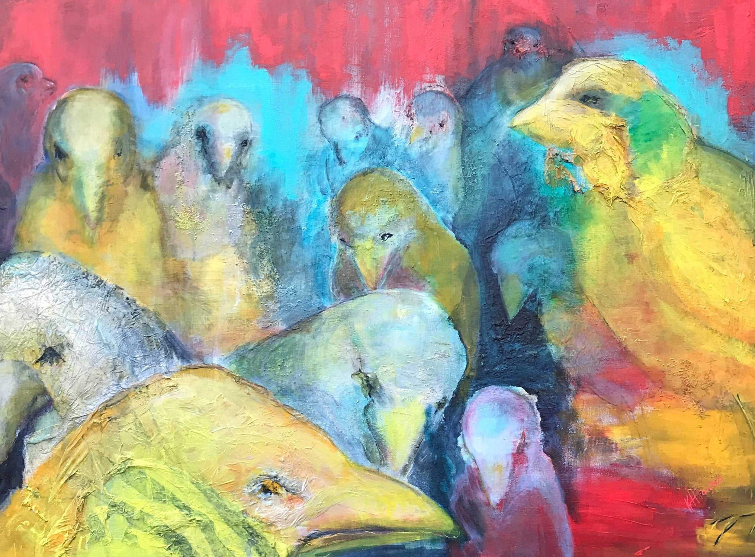 "Avian Assembly   30"" x 40"" - mixed media on canvas"