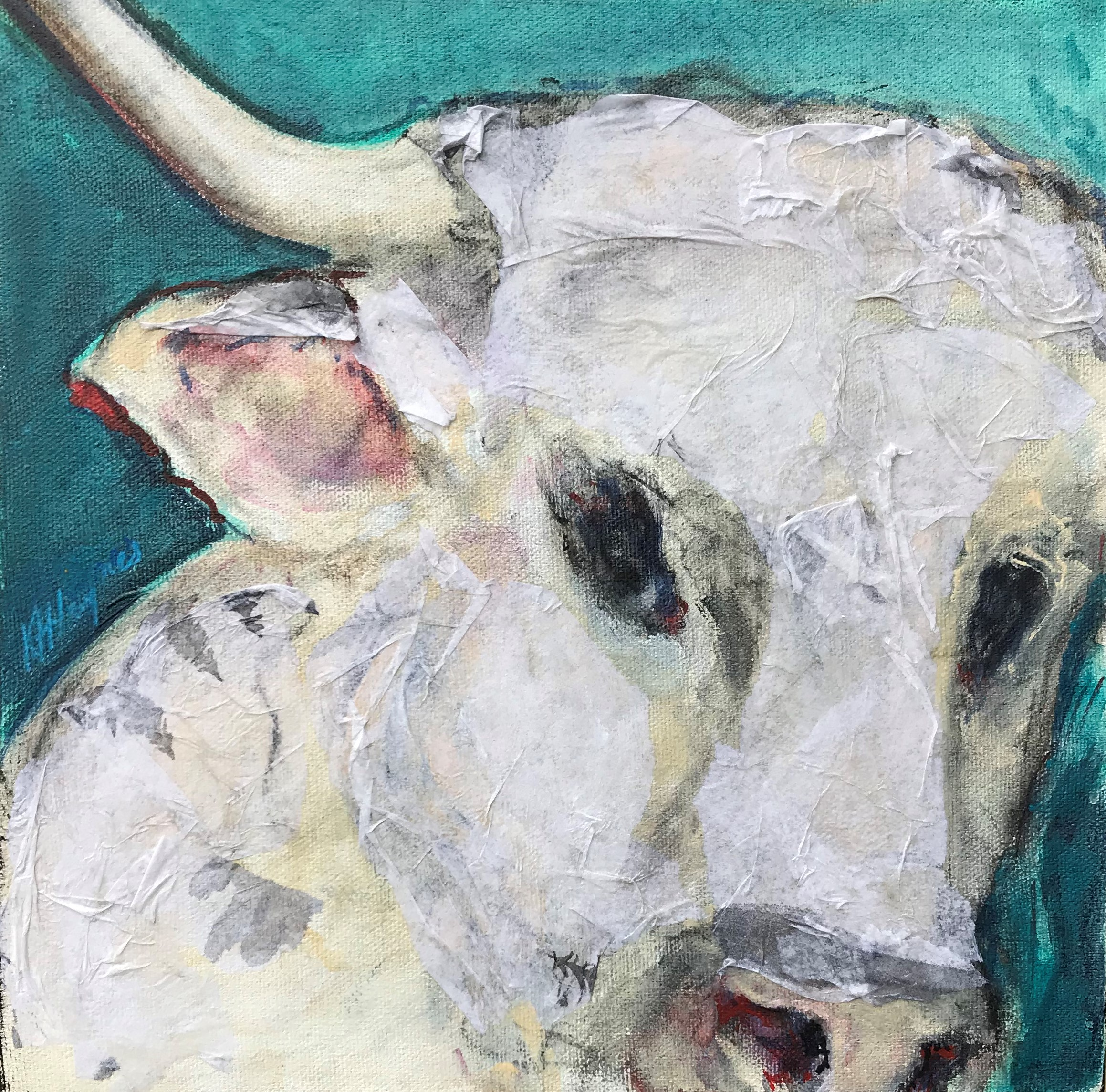 "Bull   10"" x 10"" - mixed media on canvas"