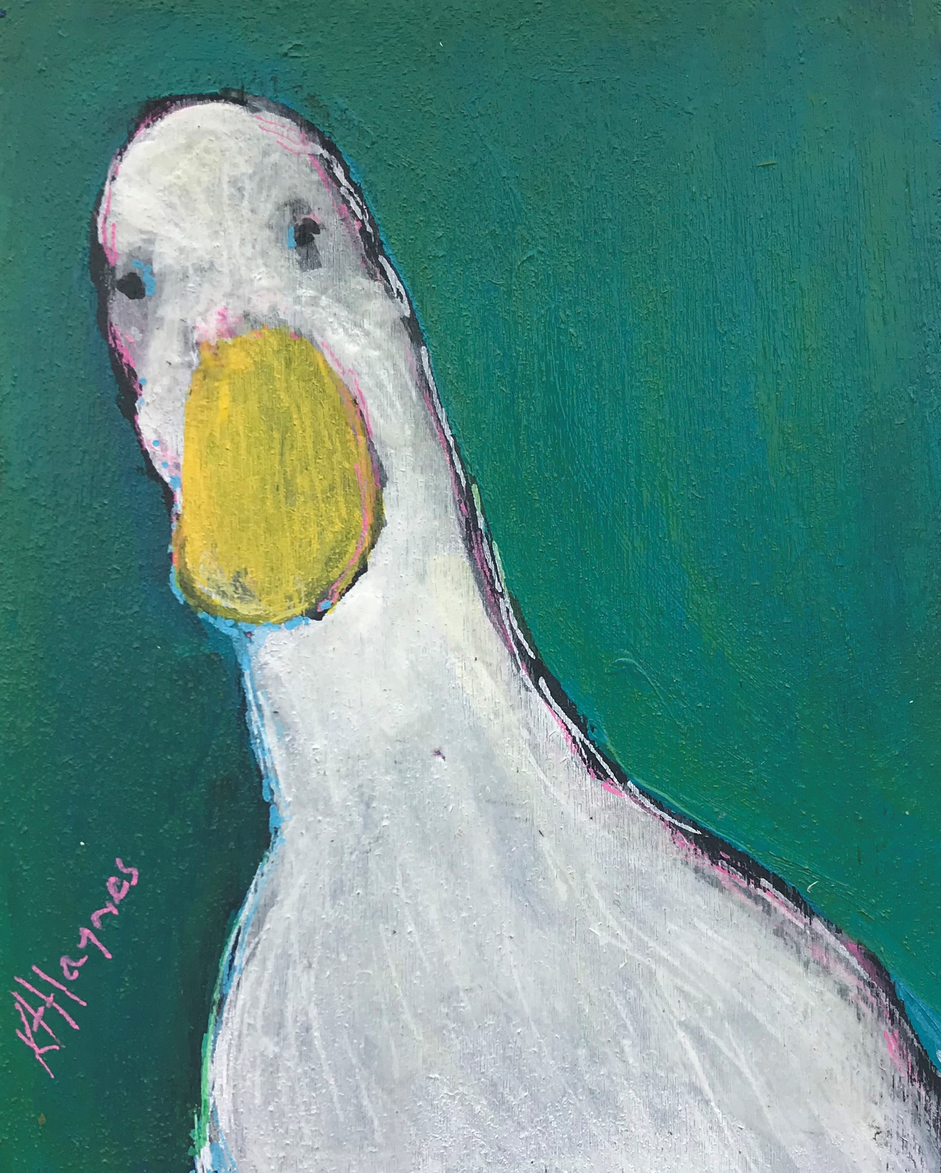 "SOLD - Dear Duck   5"" x 4""  acrylic on canvas"