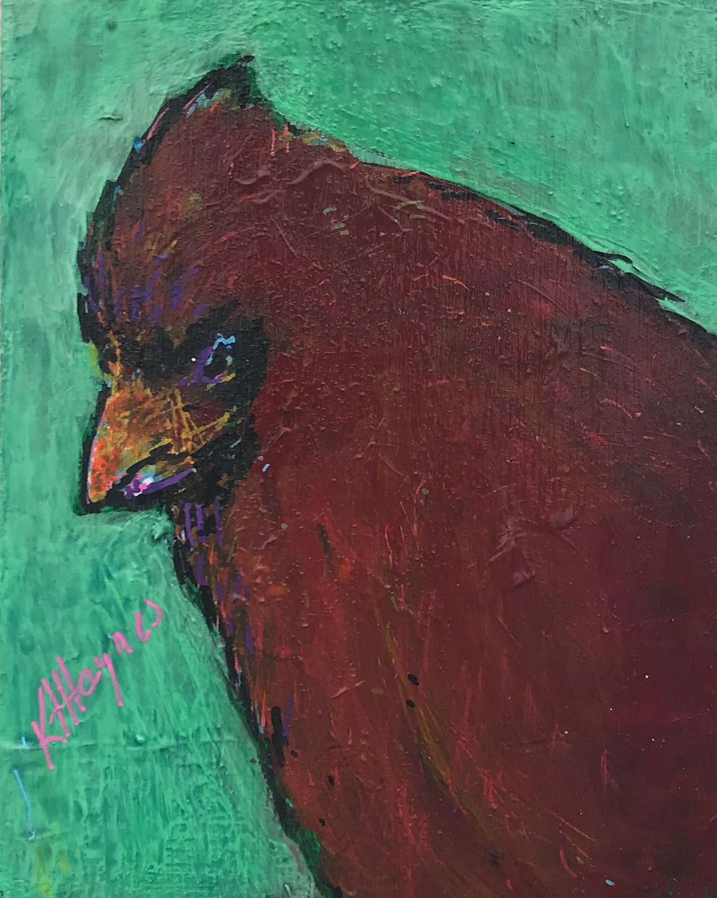 "Cool Cardinal   5"" x 4""  acrylic on canvas"