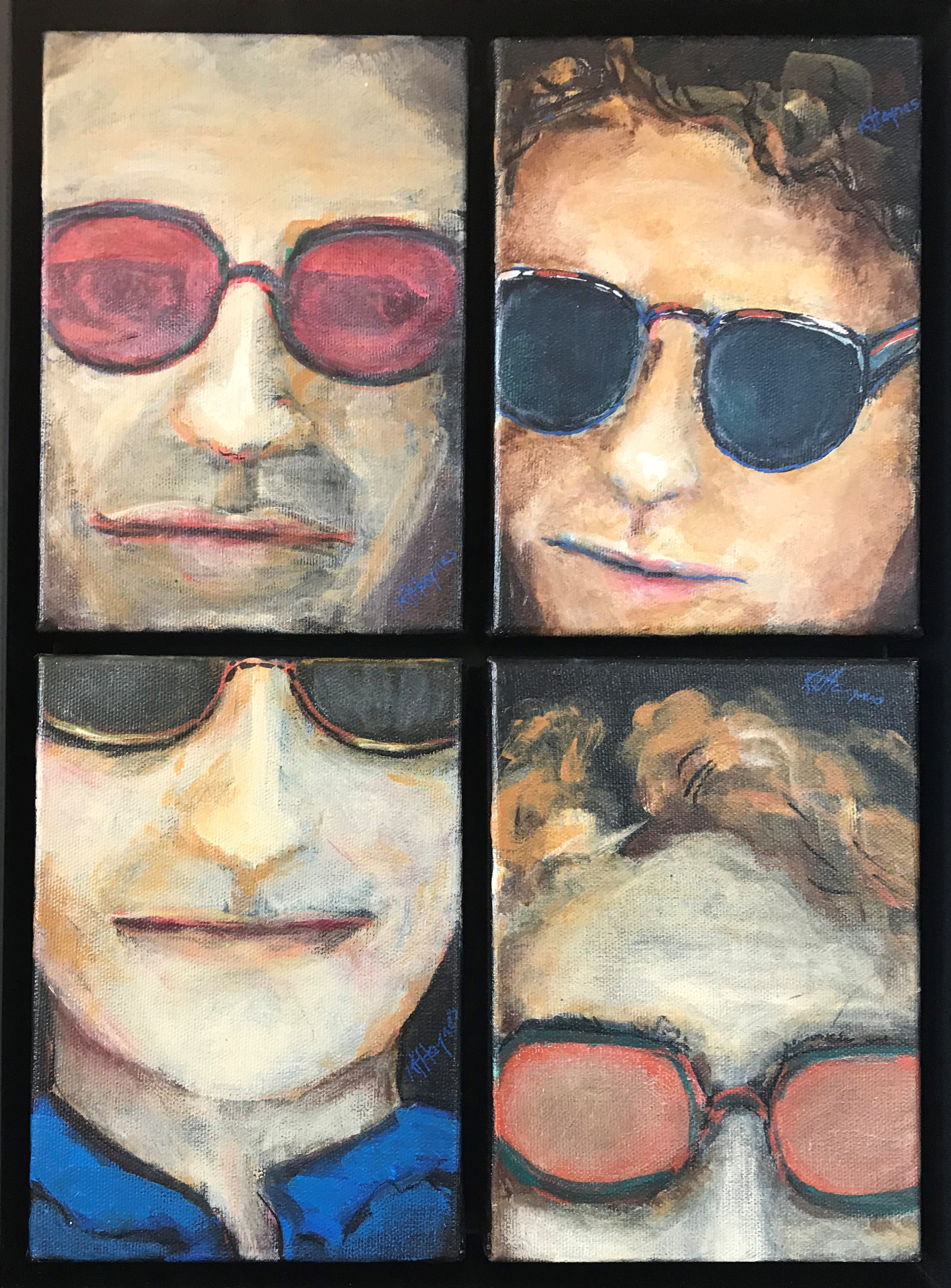 "Sunglass Men 1:   Quadriptych - framed - 11.5 x 15.5"" - acrylic on canvas"