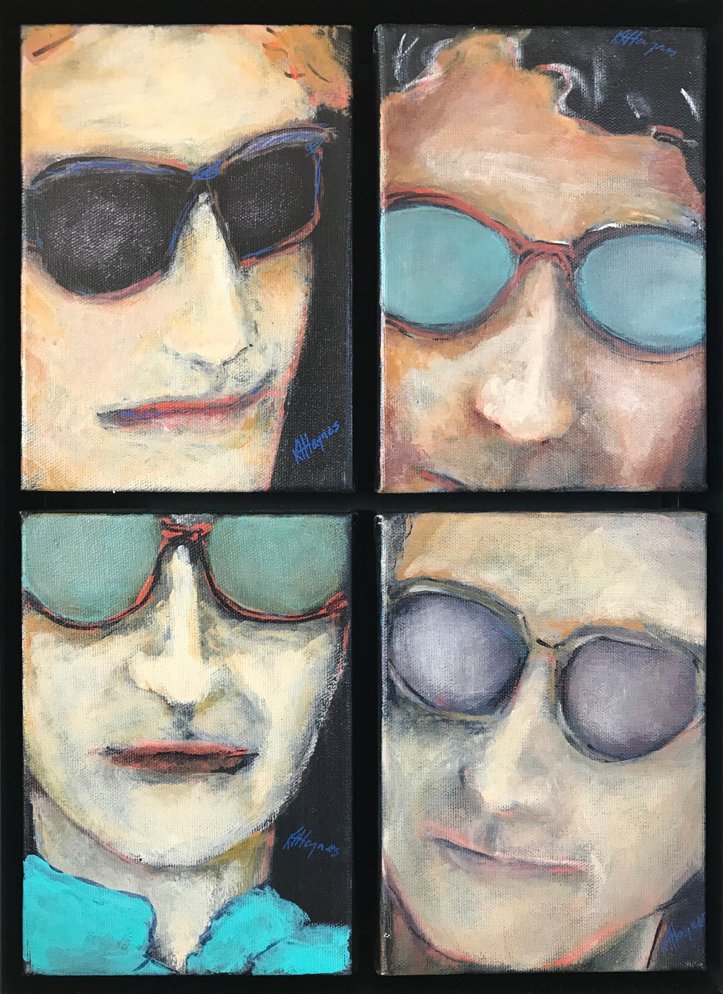 "Sunglass Men 2:   Quadriptych - framed - 11.5 x 15.5"" - acrylic on canvas"