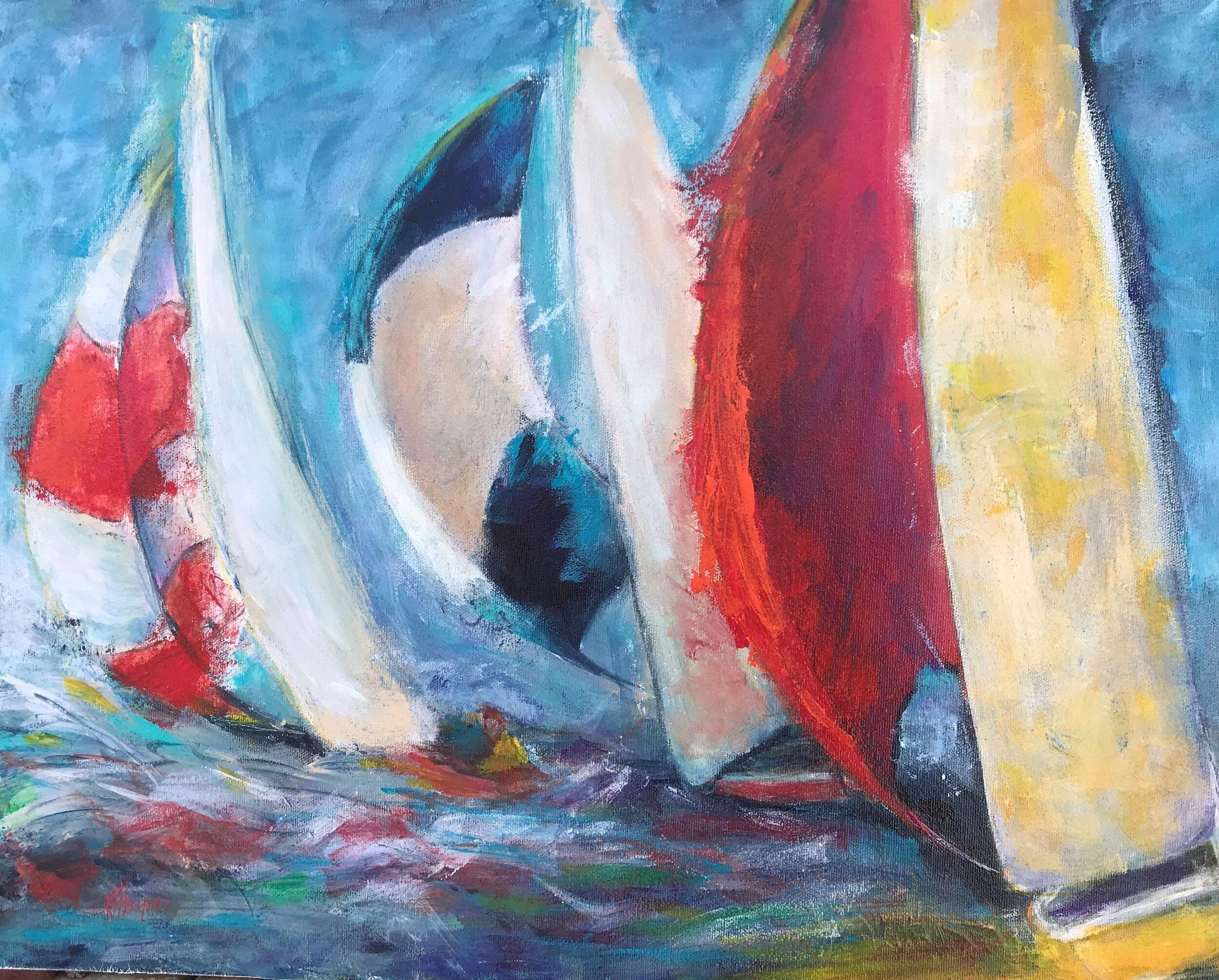 "Racing   16"" x 20"", acrylic on canvas"