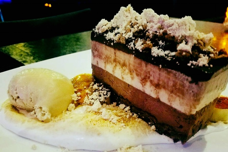 Our Signature House Made Chocolate- Peanut Butter Bar withSalted Caramel Gelato and Espresso Mousse