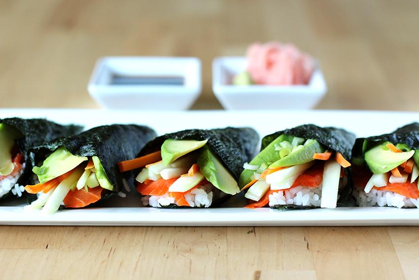 Smoked Salmon Sushi Hand Rolls