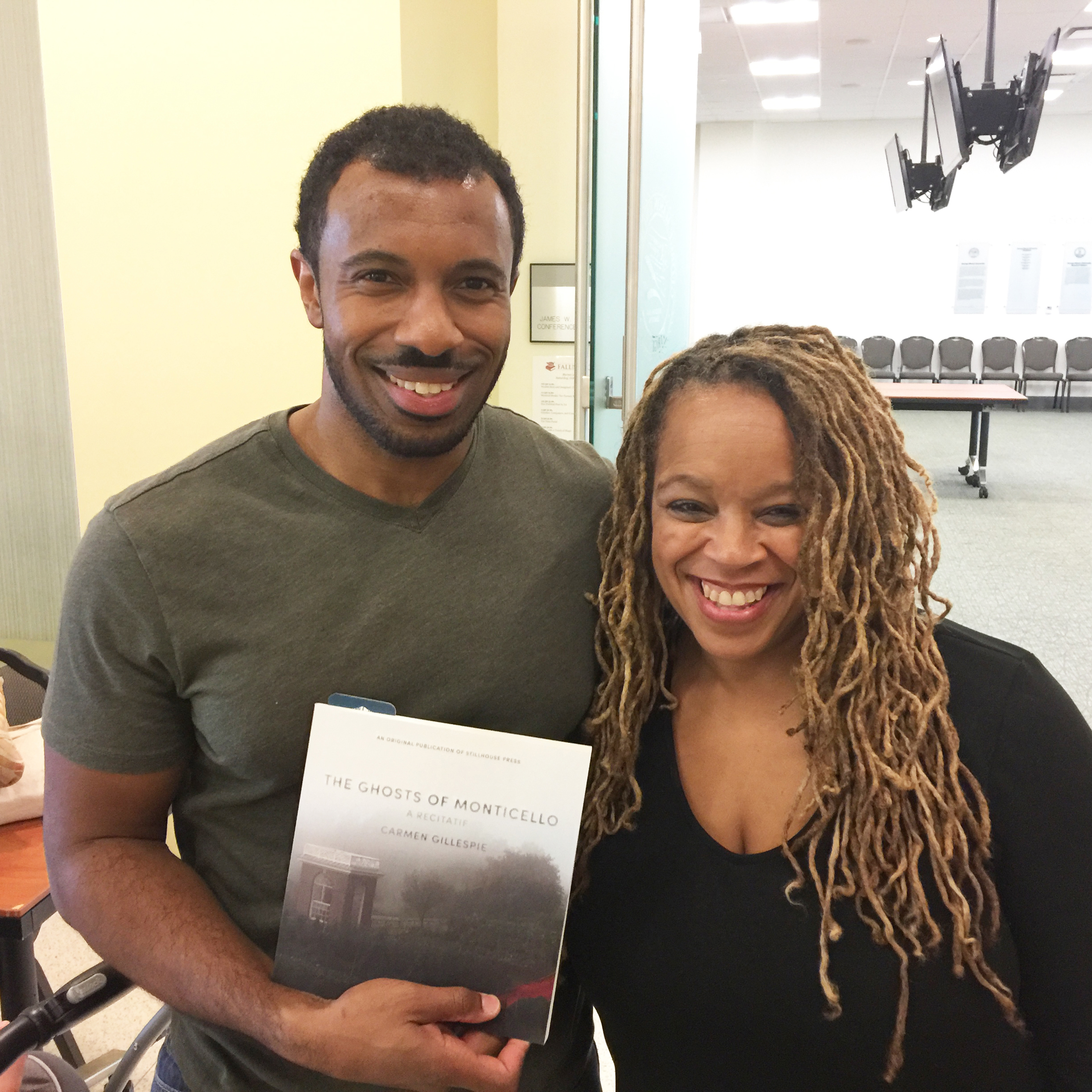 Kyle Dargan & Carmen Gillespie celebrating the release of  The Ghosts of Monticello,  Oct. 2017
