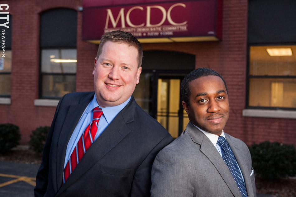 PHOTO BY JOHN SCHLIA Chairman Mike Kennerknecht (left) and Town Leader Simeon Banister (right) have led theeffortto rebuild the Henrietta Democratic Committee.