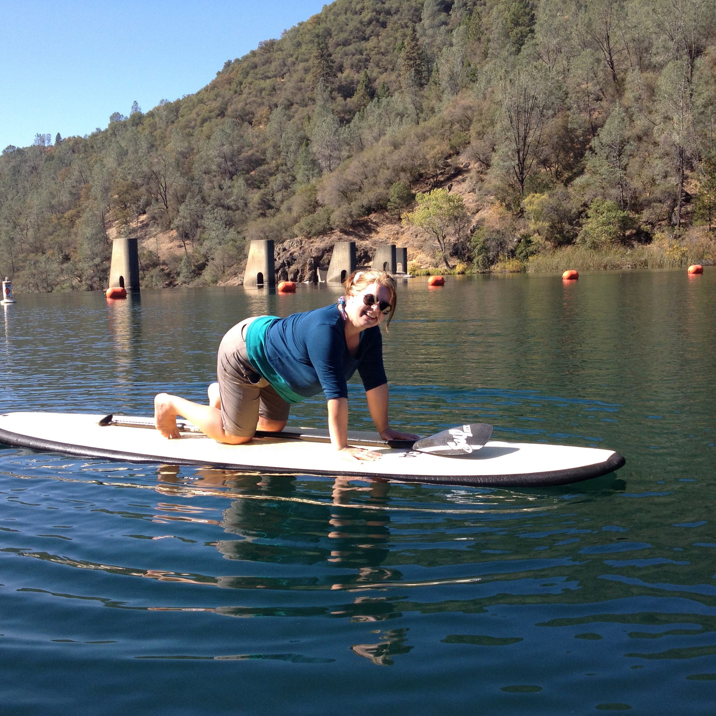 Student ready for SUP Yoga