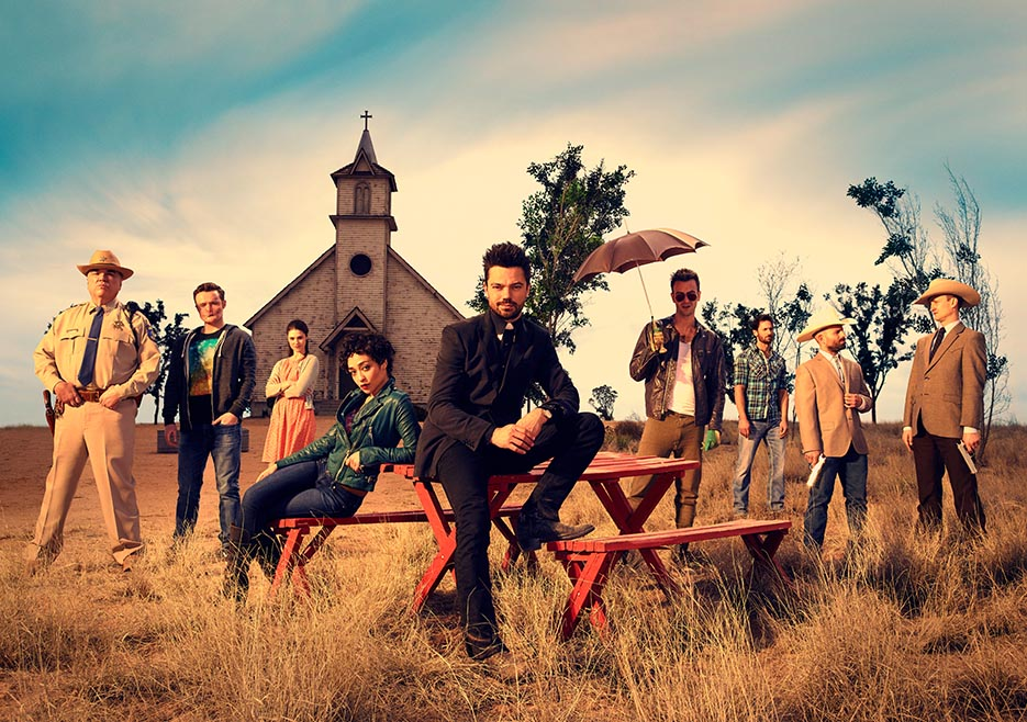 The cast of AMC series  Preacher  (courtesy AMC)