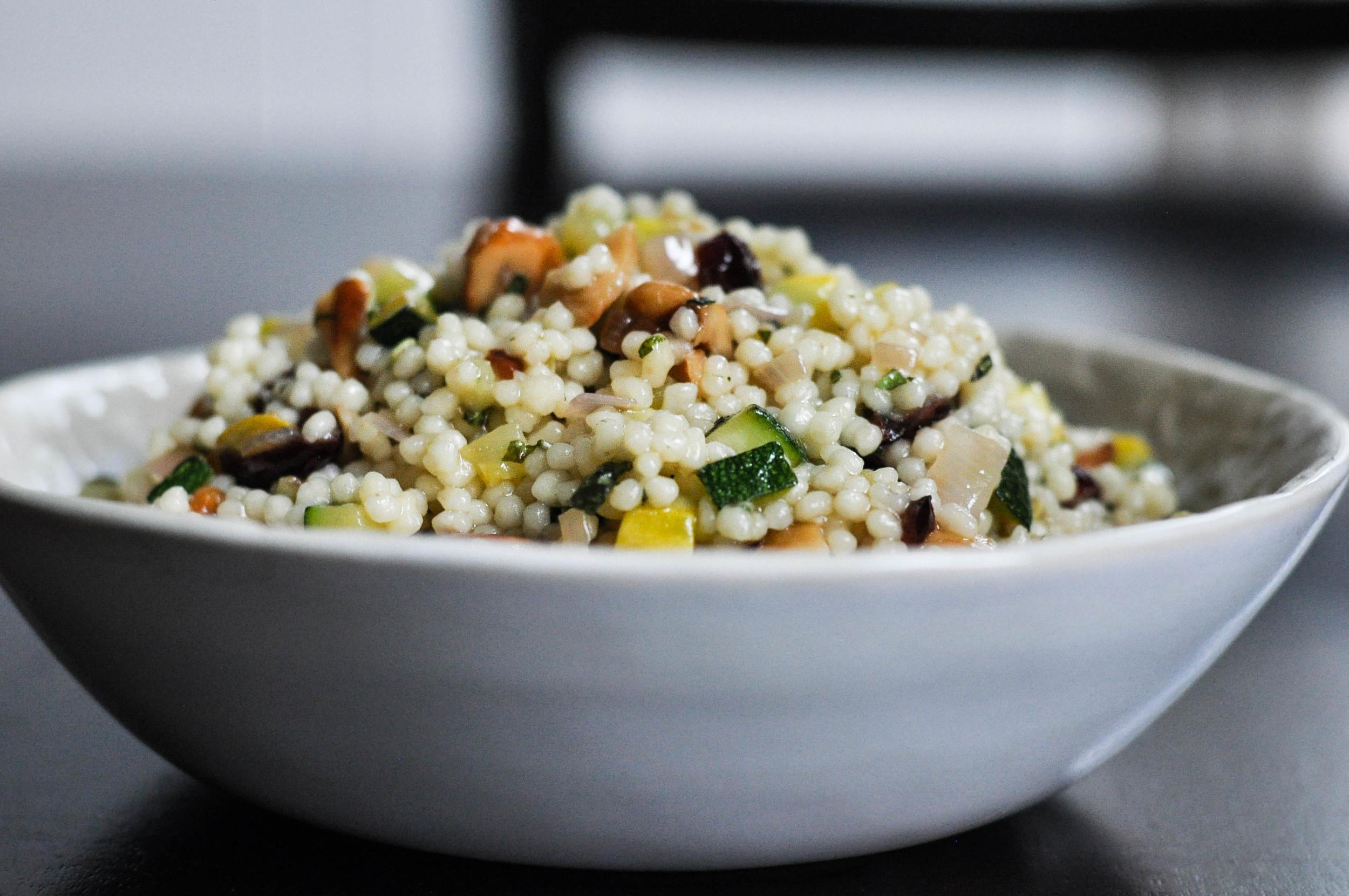 Couscous with Summer Squash & Roasted Garlic Vinaigrette | O&O Eats
