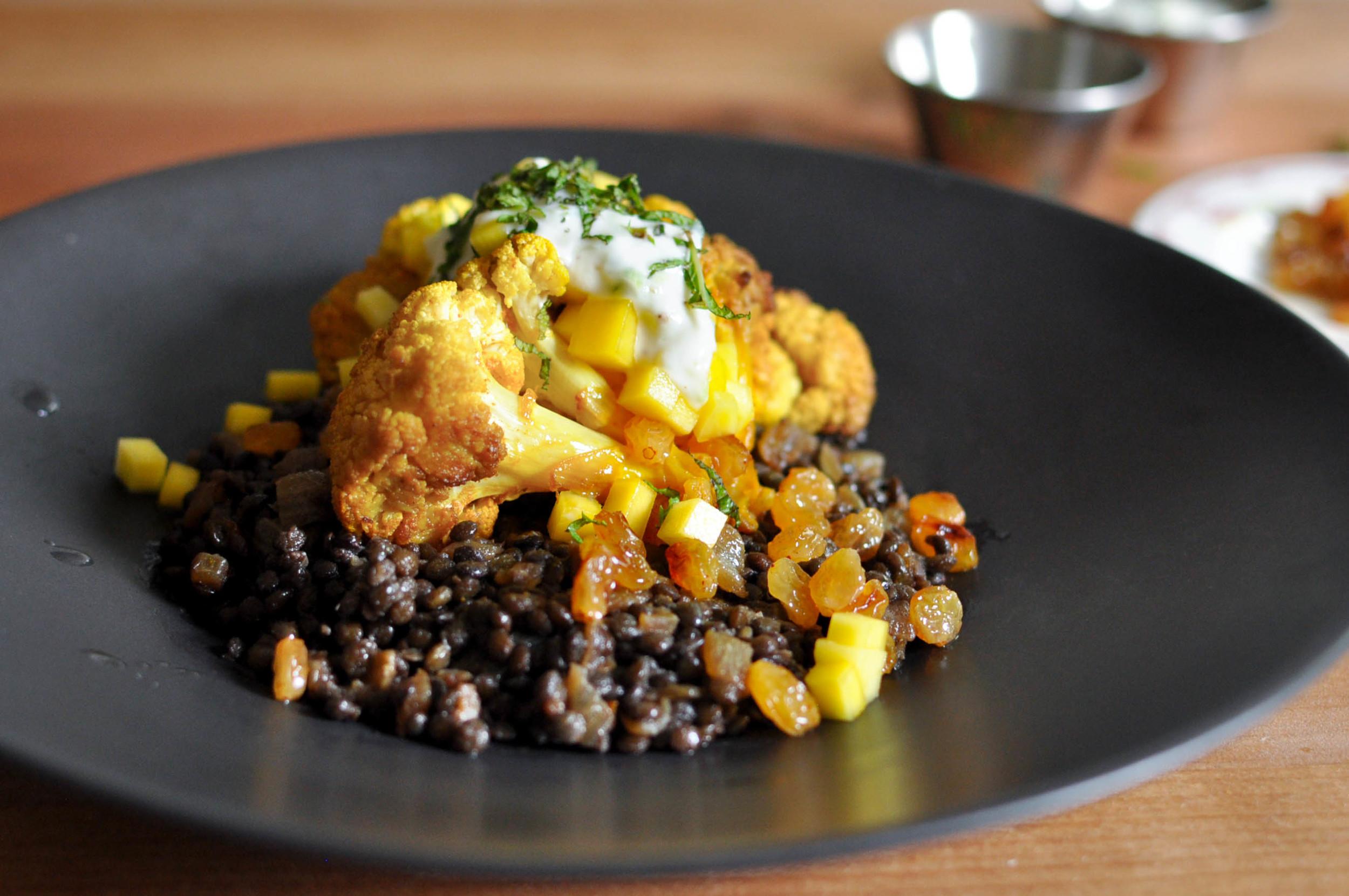 Slow Roasted Cauliflower with Beluga Lentils | O&O Eats