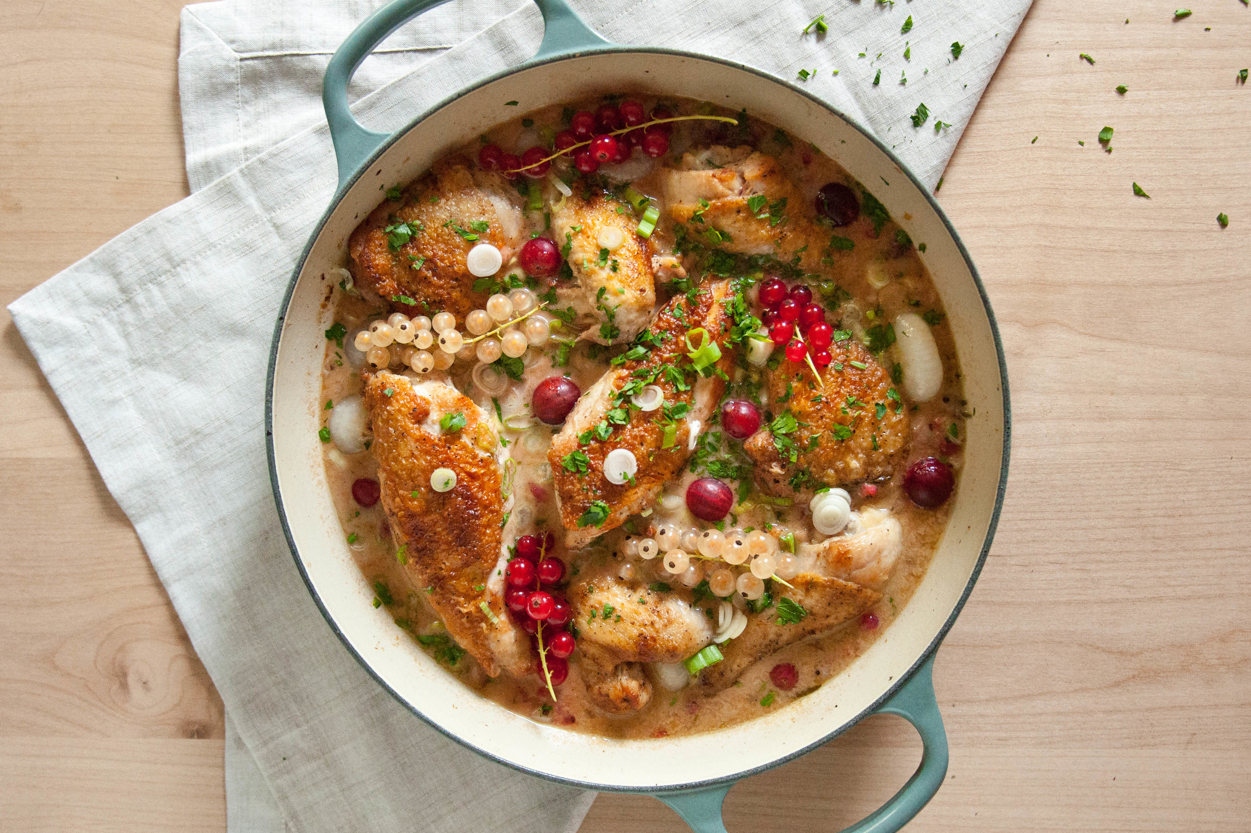 Braised Chicken with Currants & Gooseberries | O&O Eats
