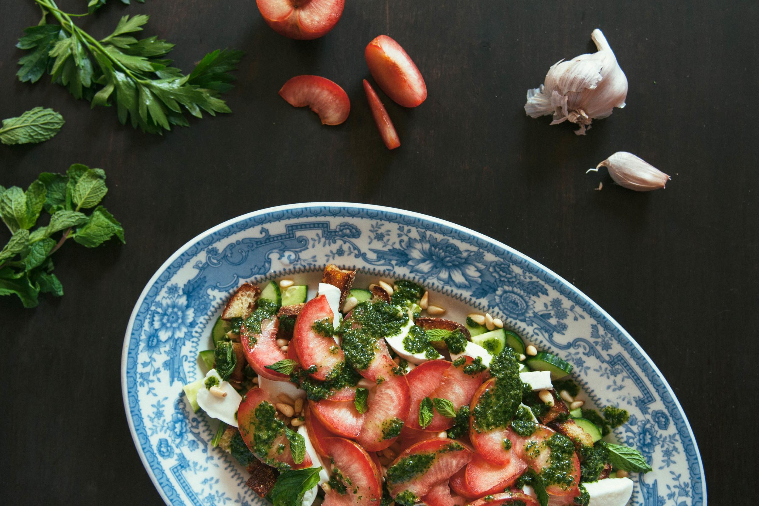 Mozzarella & Pluot Salad | O&O Eats