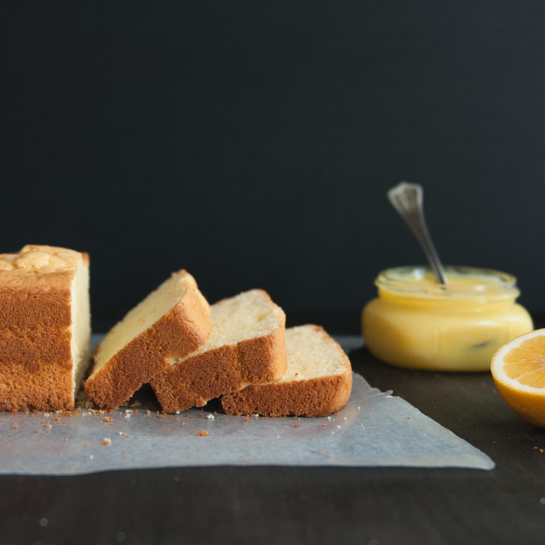 Olive Oil Pound Cake with Meyer Lemon Curd
