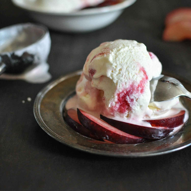 Buttermilk Plum Swirl Ice Cream