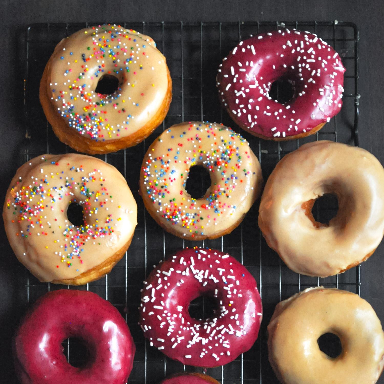 Blackberry & Peach Glazed Donuts