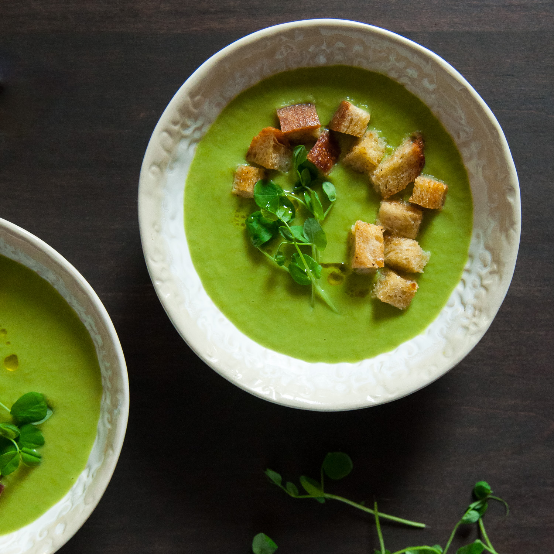 Pea & Leek Soup with Sourdough Croutons