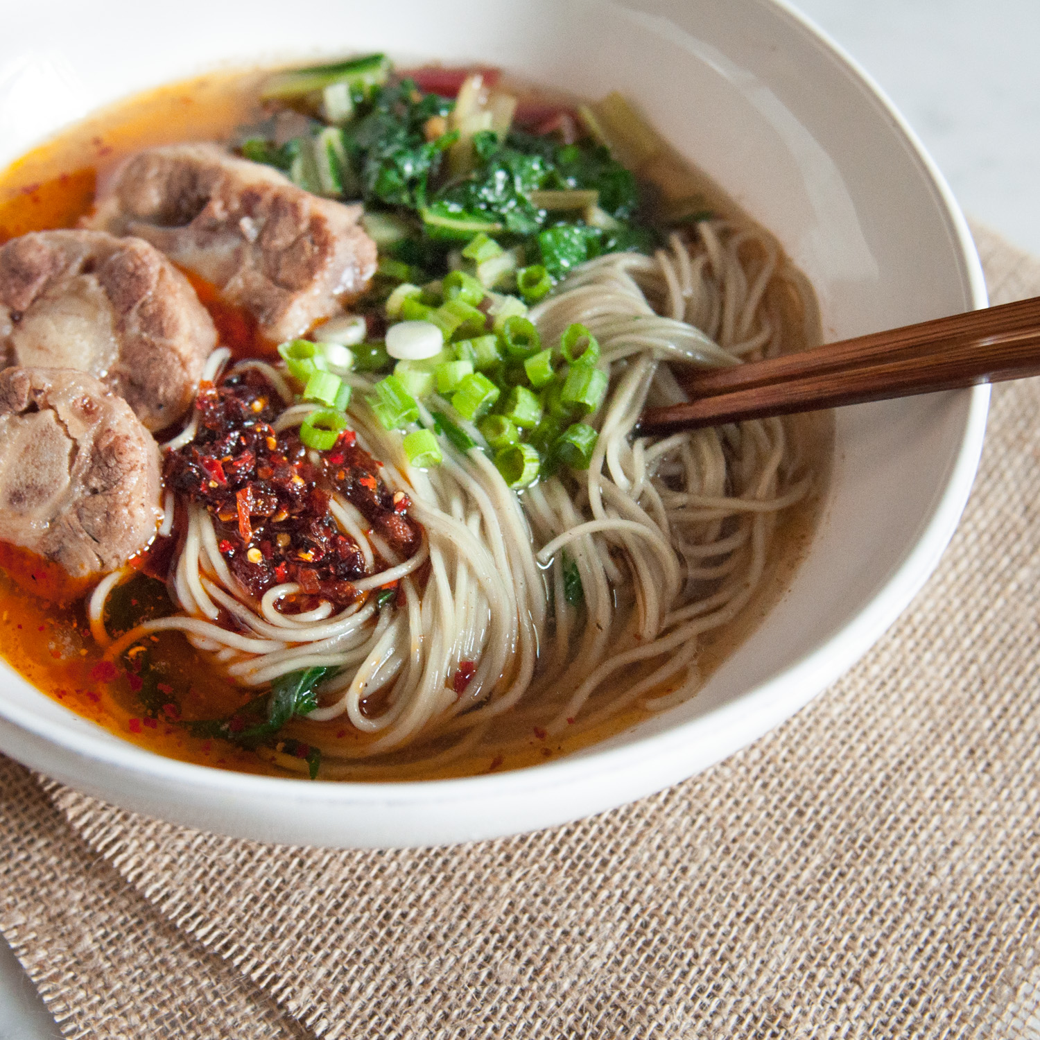 Beef Noodle Soup with Oxtail & Chard