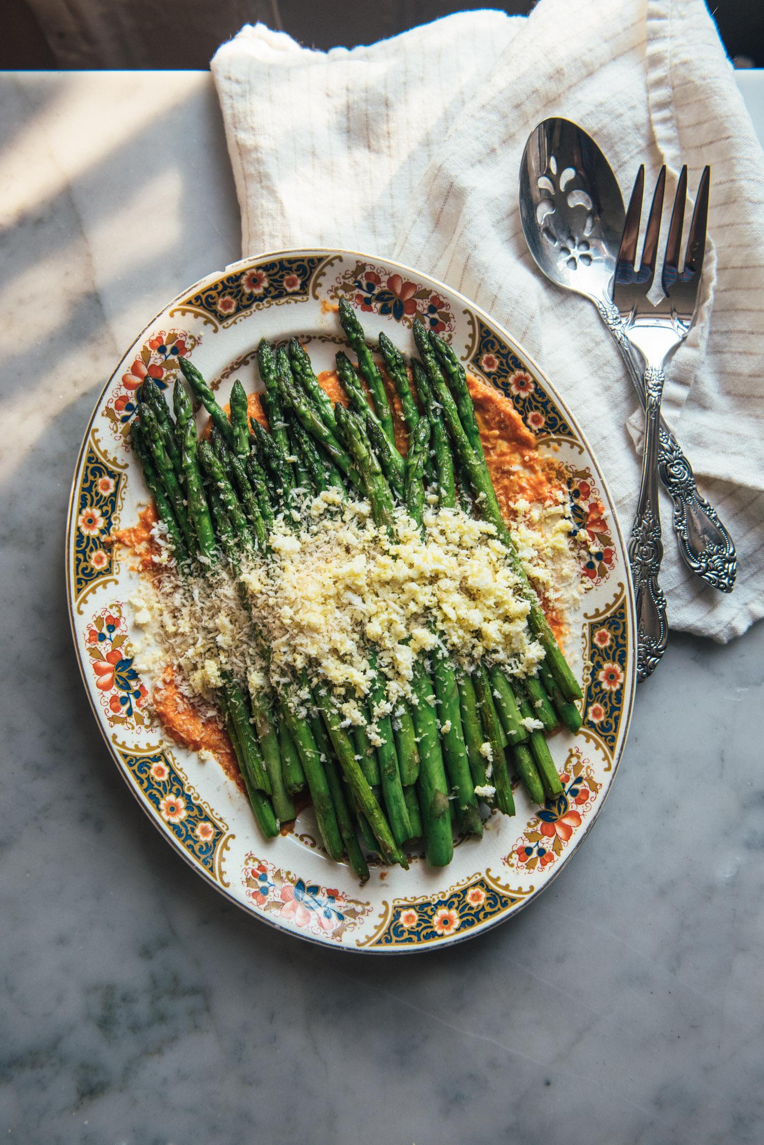 Pan Fried Asparagus with Romesco Sauce