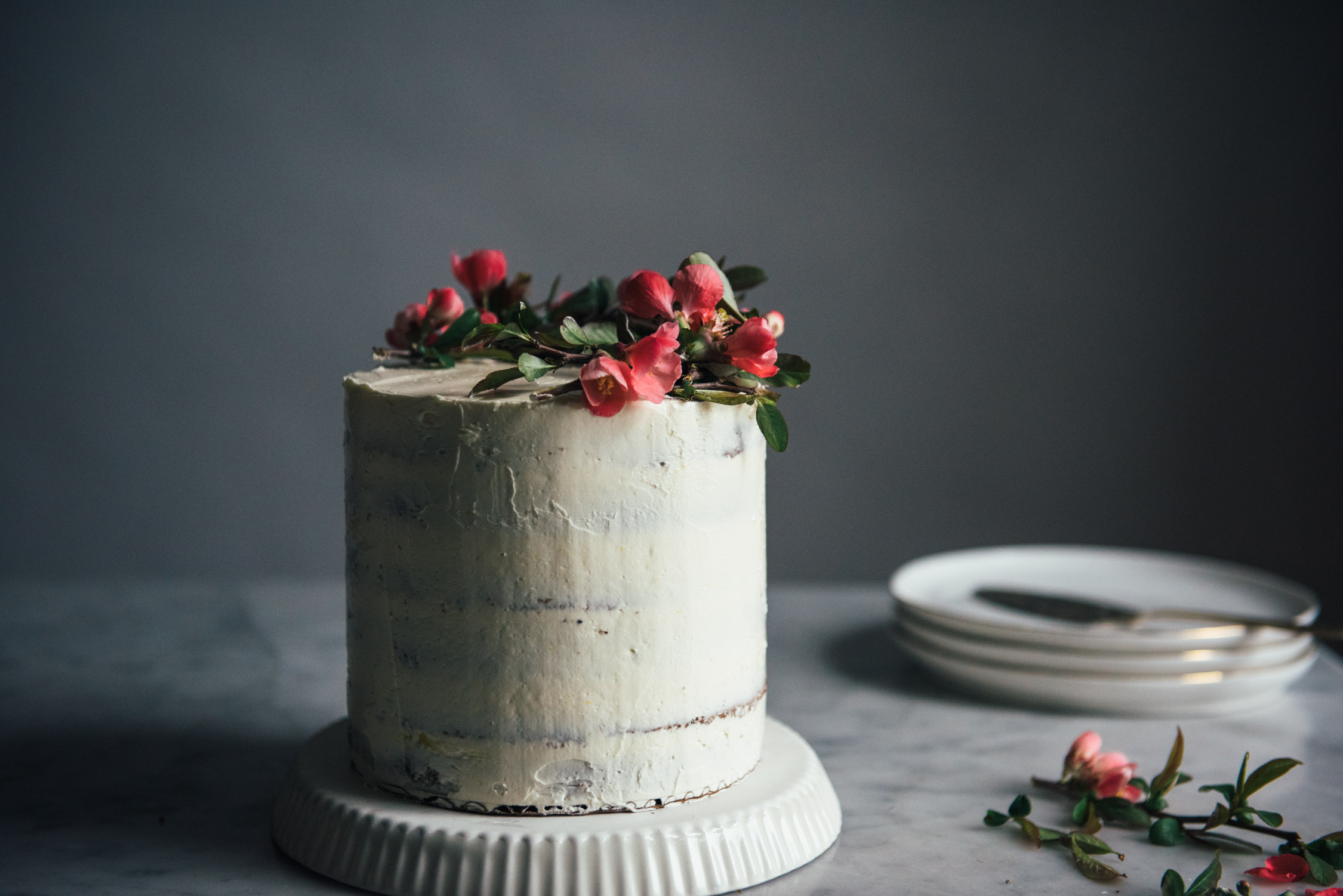Black Sesame Cake with Citrus Curd