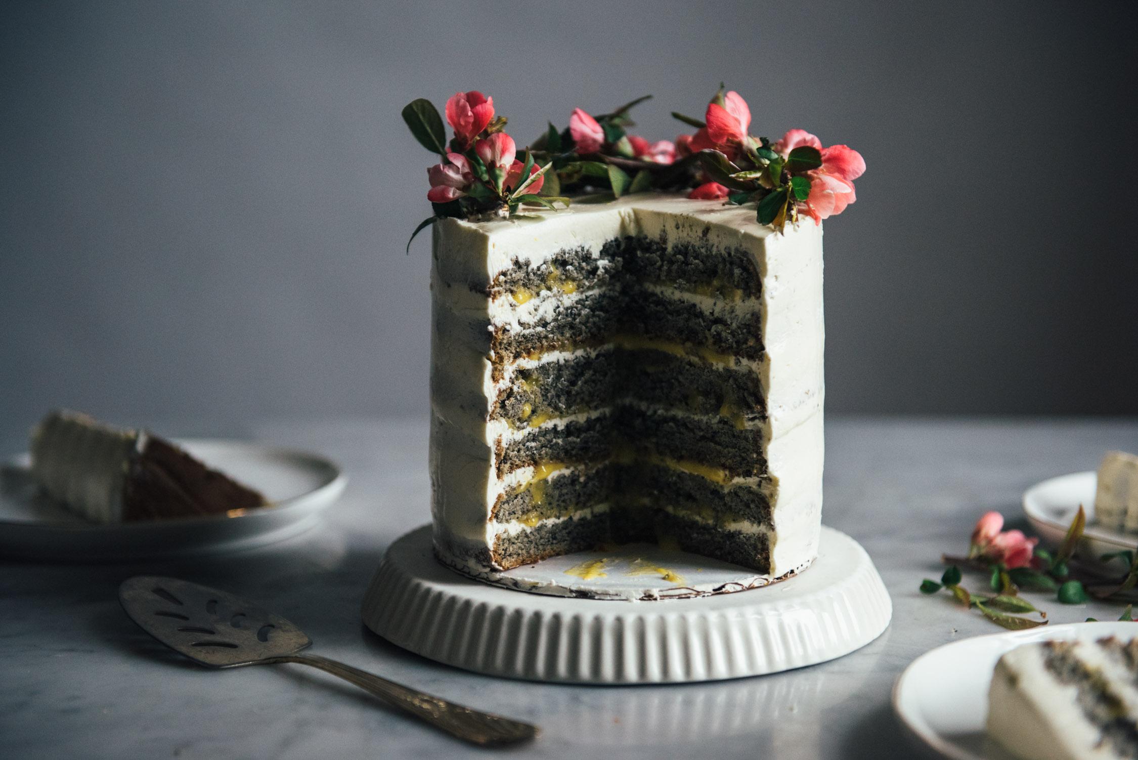 Black Sesame Cake with Citrus Curd