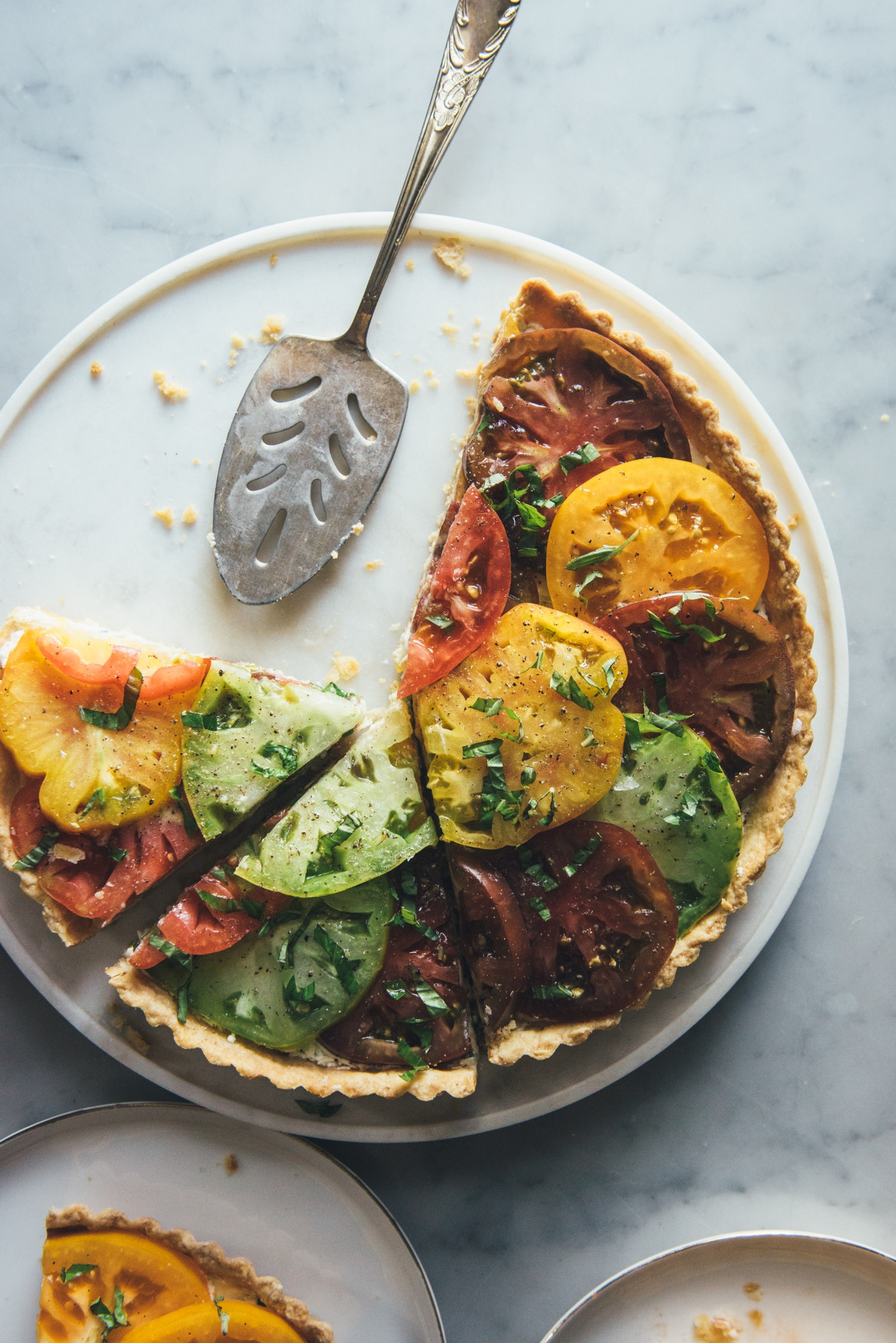 Tomato Tart with a Scallion Goat Cheese Filling