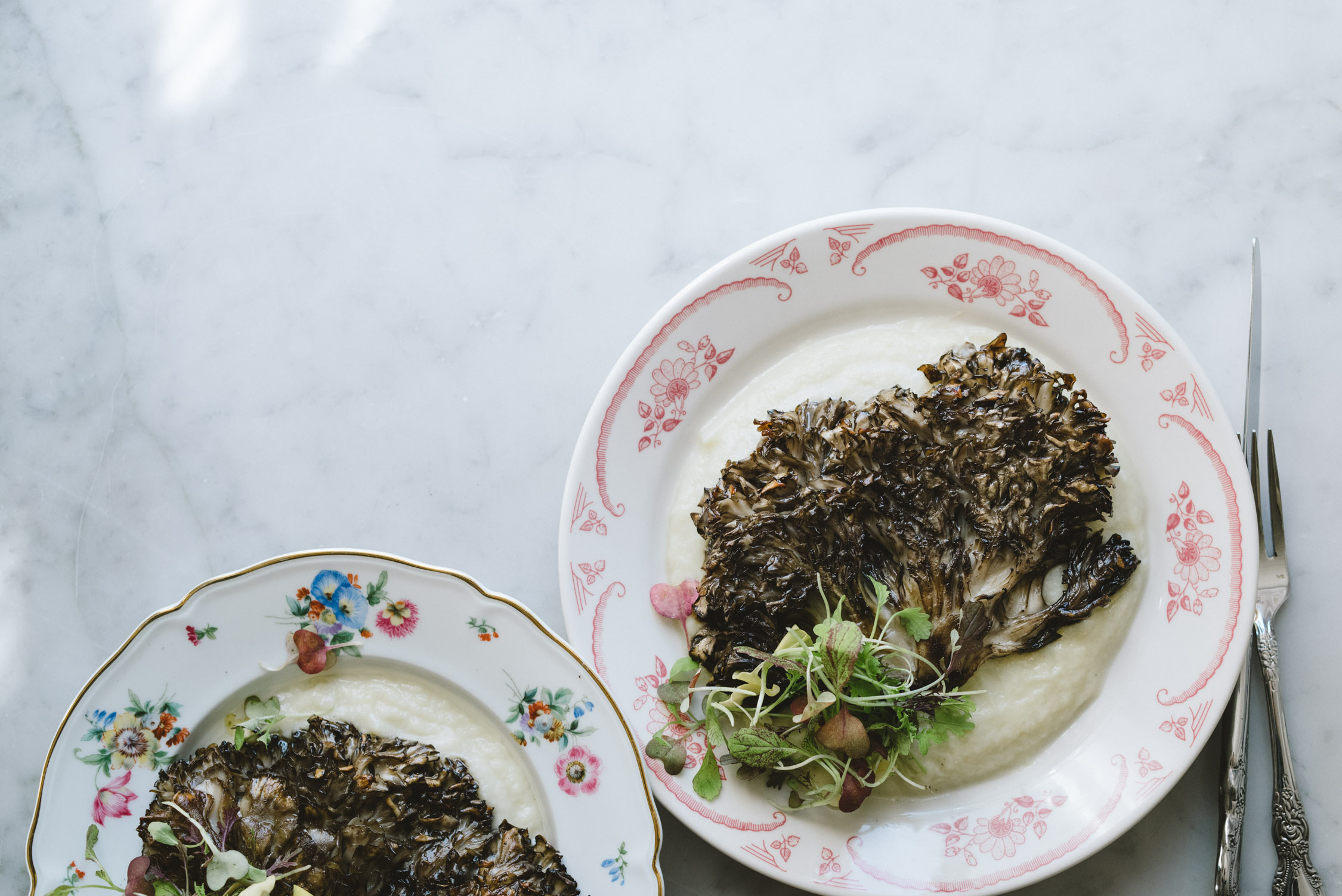 Maitake Steaks with Cauliflower Purée