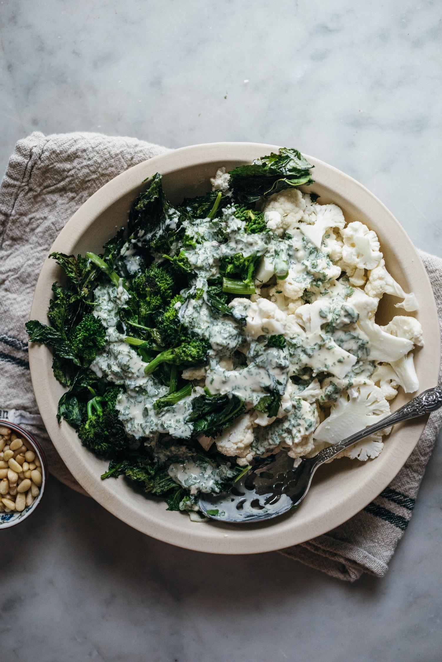 Broccoli Rabe and Crunchy Cauliflower with a Lemon Tahini Dressing