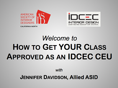 """Download a FREE copy of the PowerPoint slides for our class """"How to Get YOUR Class Approved as an IDCEC CEU"""". If you attended the class or if you're curious about the content, this file is available in a 2.5 MB PDF format."""