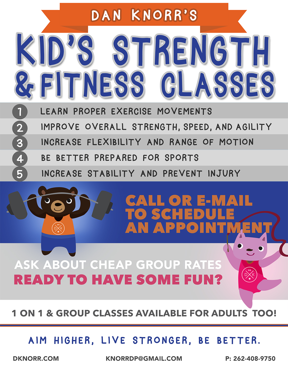 Kids Strength and Fitness Classes Flyer
