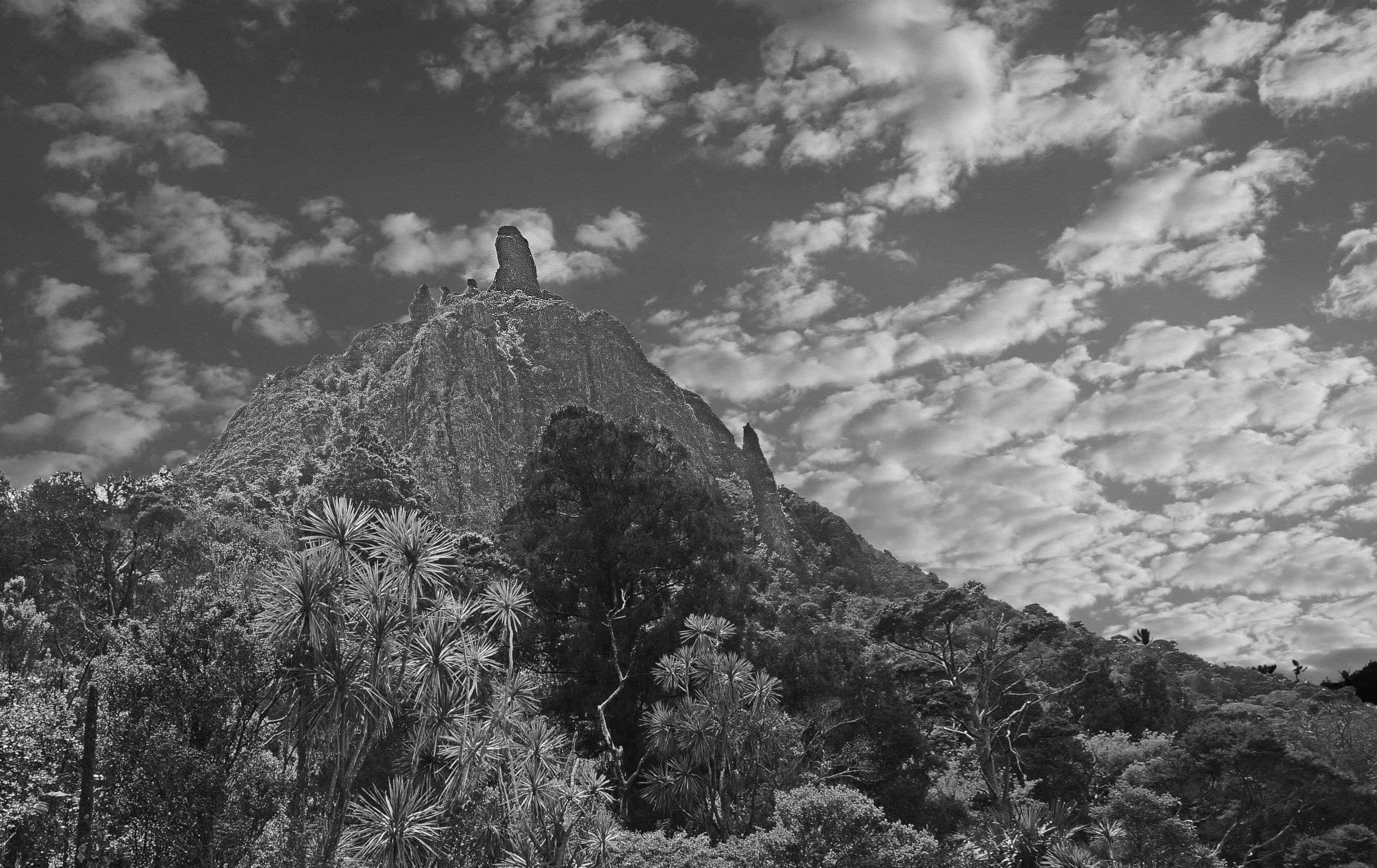 Black and white photography can add drama to a scene, such as this moody view of Mount Manaia in Northern New Zealand