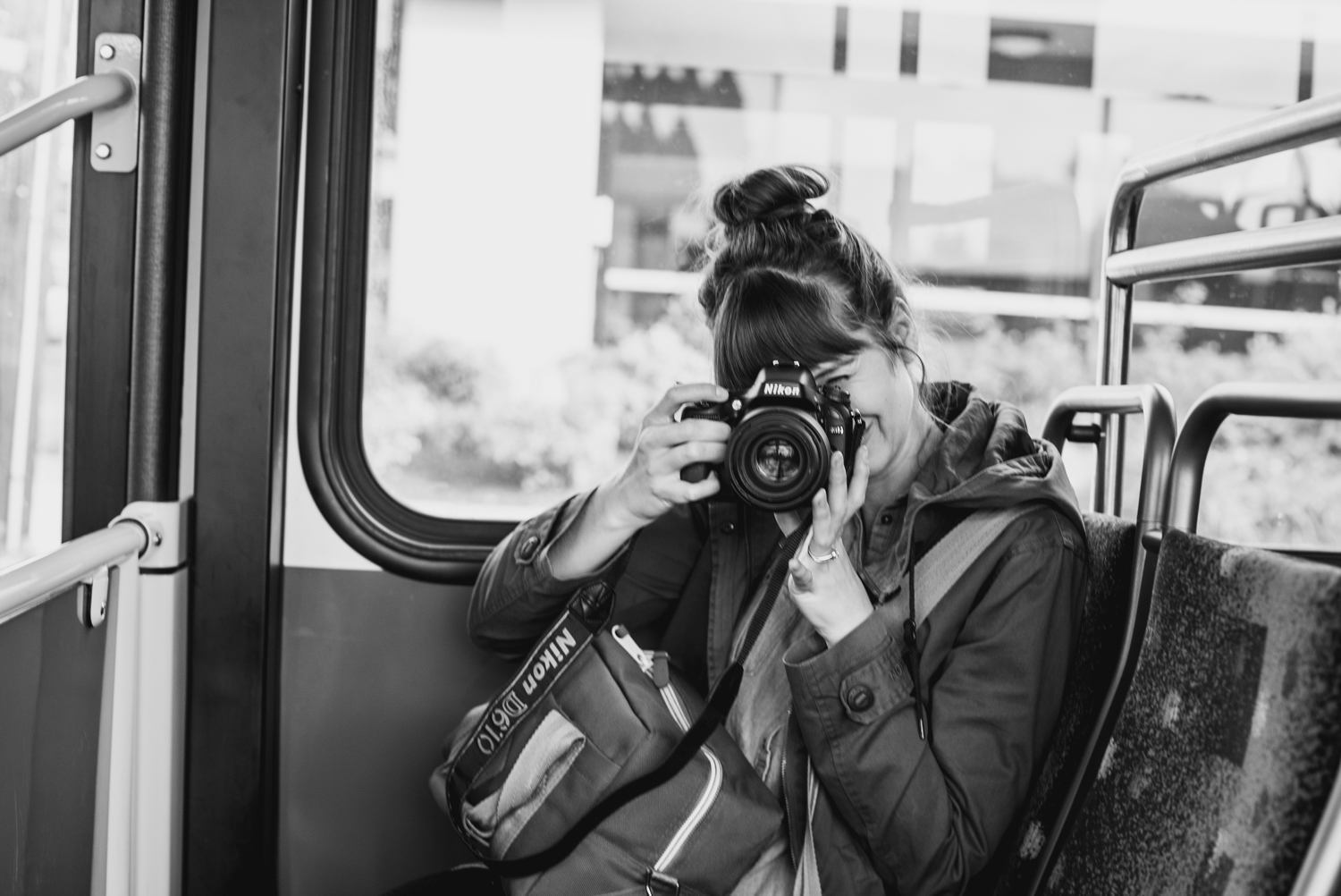This is what I look like when I take photos on a bus. (Photo by Nathan Nichols)