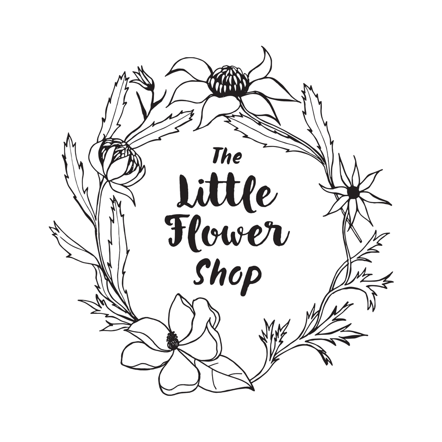 The Little Flower Shop   Hand-illustrated logo design incorporating waratahs, flannel flowers and magnolias.