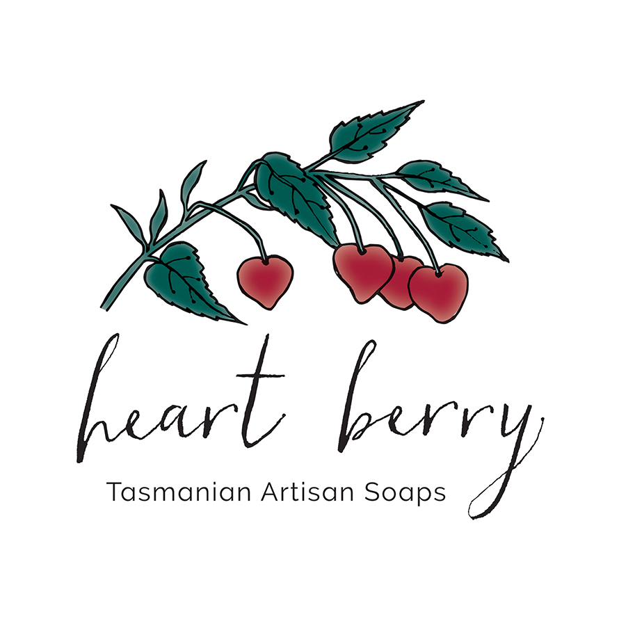 Heart Berry Tasmanian Artisan Soaps   Hand-illustrated logo incorporating a line drawing of a sprig of heart berries.