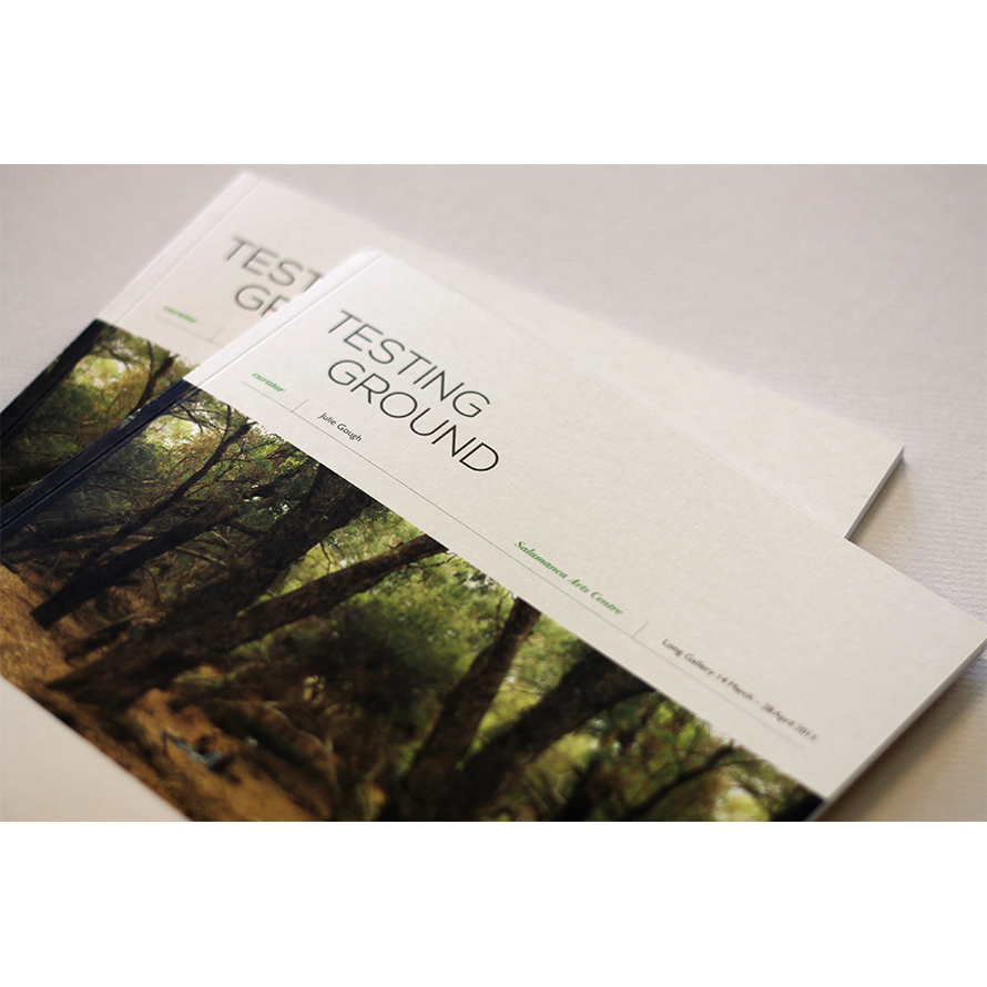 Catalogue & Promotional Materials Design    Testing Ground  catalogue and promotional materials design for Salamanca Arts Centre, in collaboration with Sarah Owen Design.