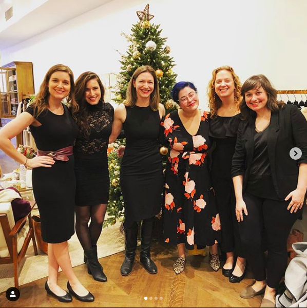 Caroling at the Sezane in-store holiday Saturday event