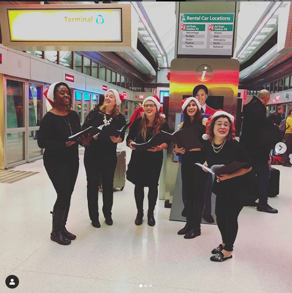 Delighting holiday travelers with carols in Newark LIberty Airport!