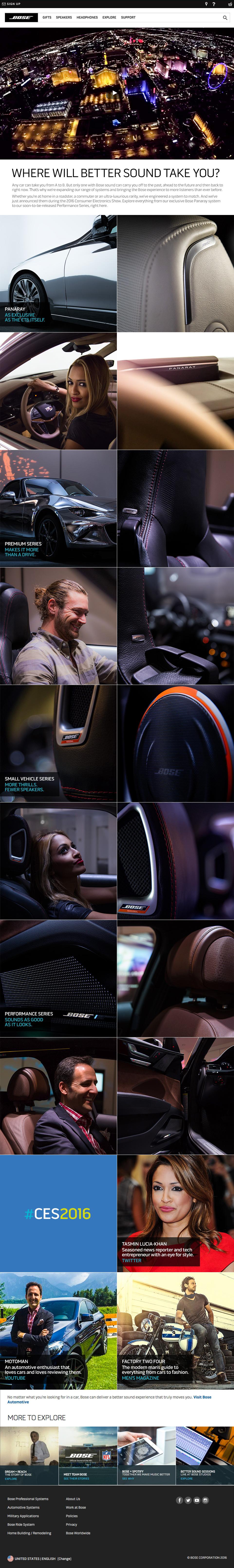 Bose Auto Experience landing page