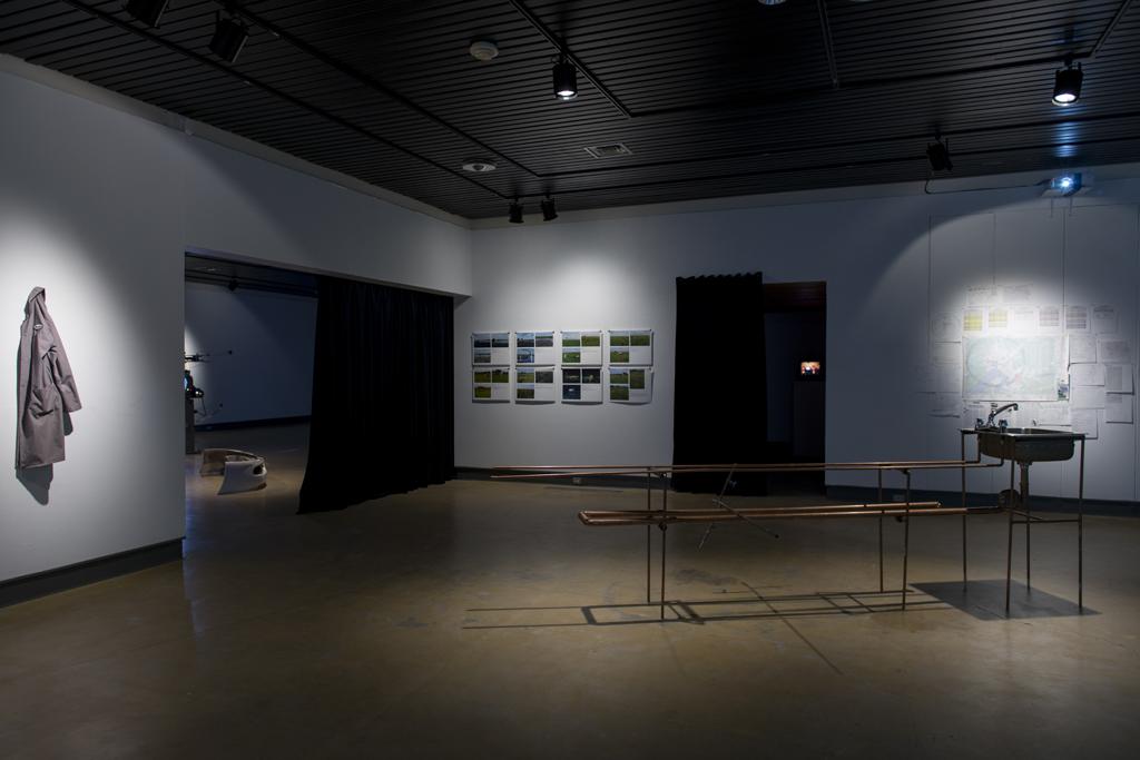 installation view - Land Lost exhibition Galerie d'art Louise et Reuben Cohen, Moncton, 2014 documentation by Mathieu Léger