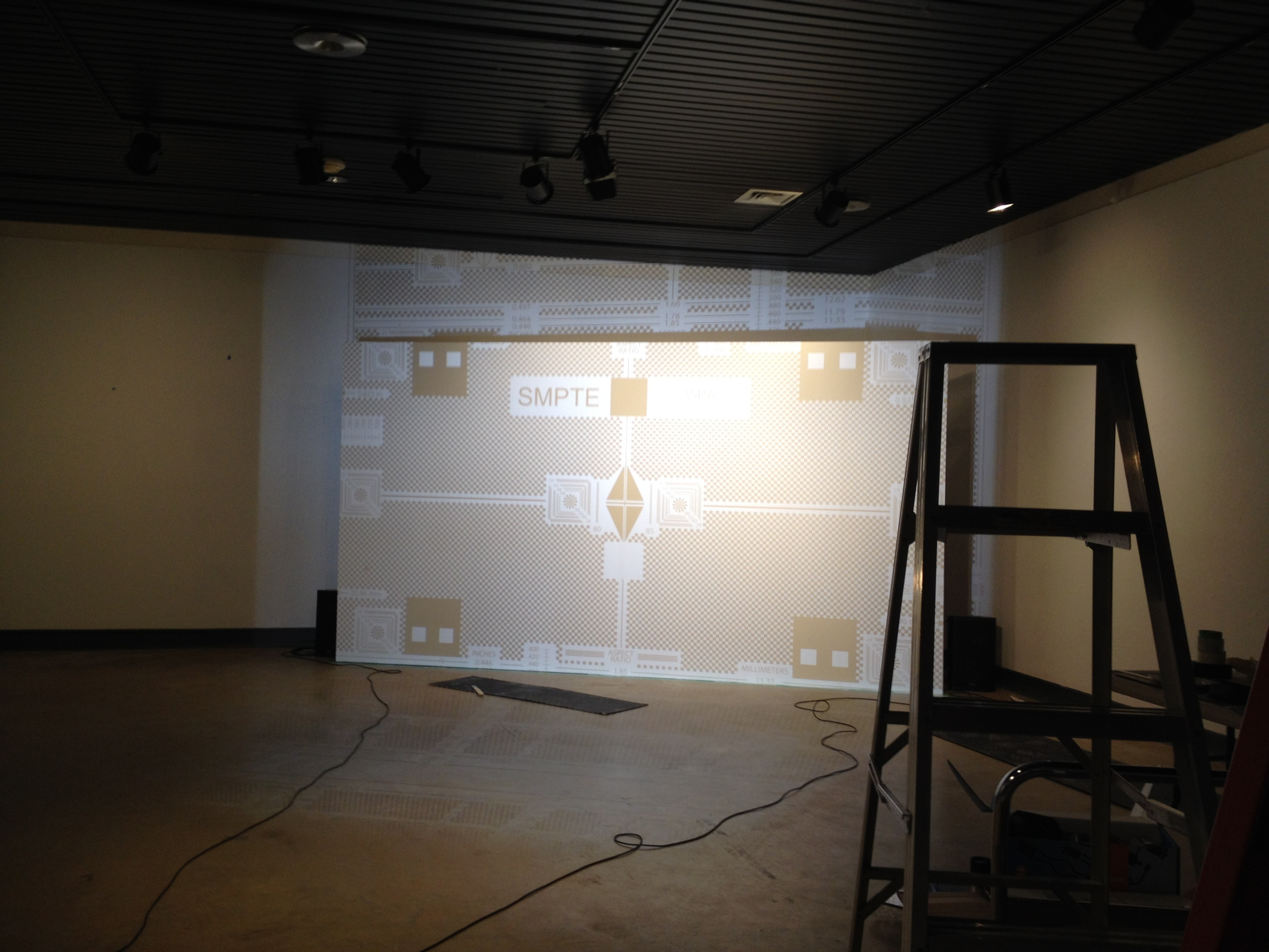 SMPTE film projected on the screen
