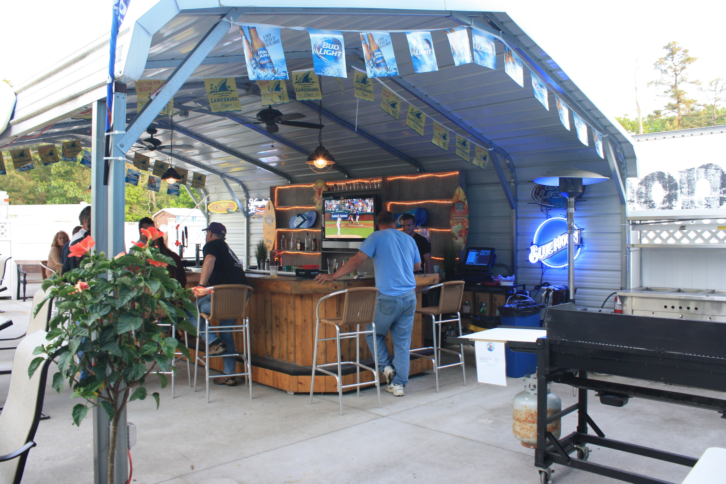 The Sand Bar on our outside patio. Great for cold drinks on hot days.