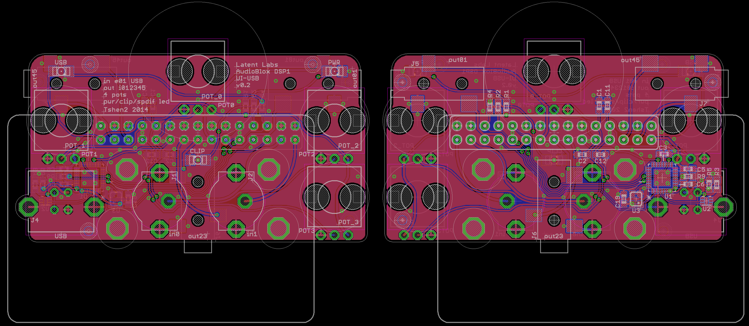 PCB layout - front (left) & back (right).