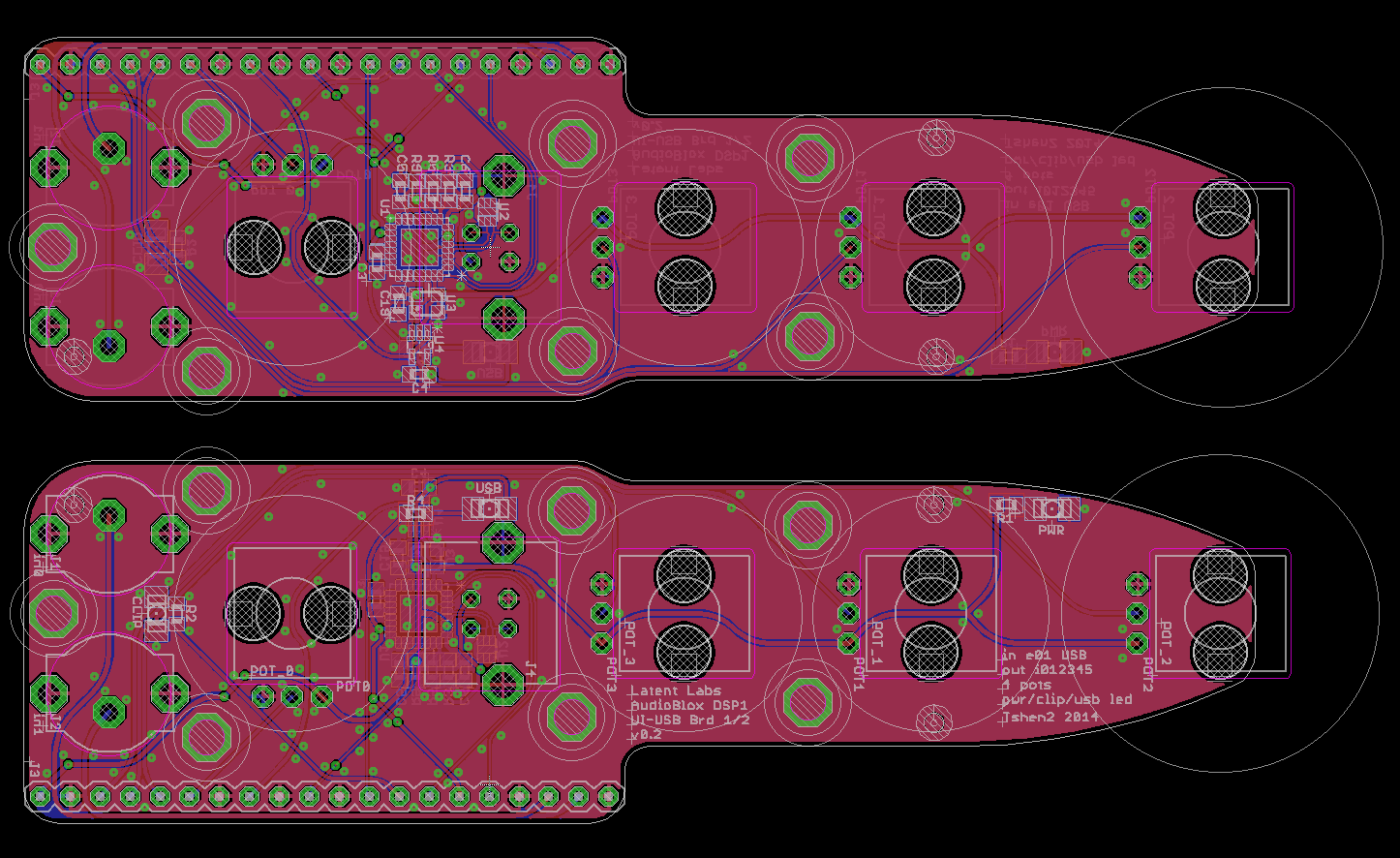 PCB layout - front (lower) & back (upper).