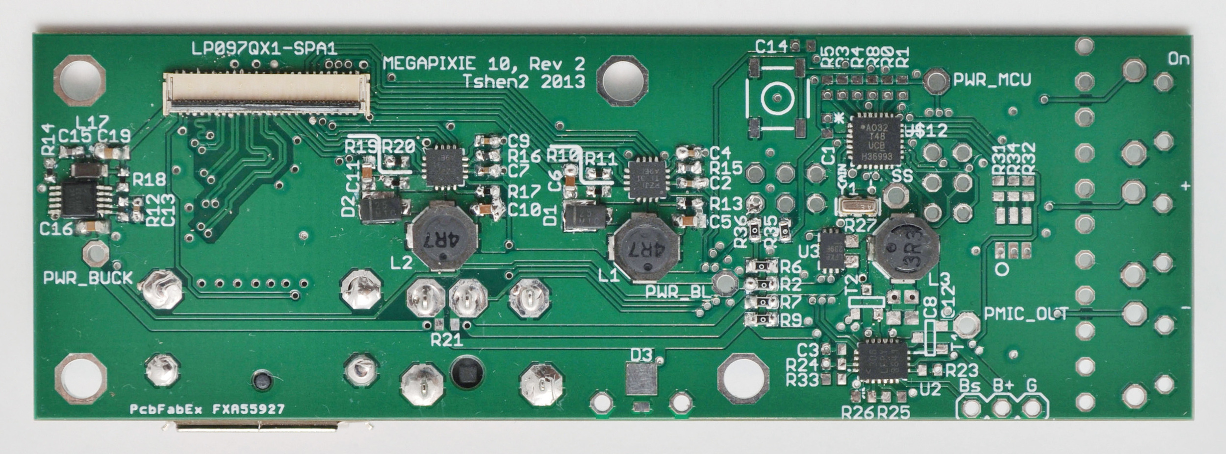 Retina iPad interface board, partially-assembled, top view.