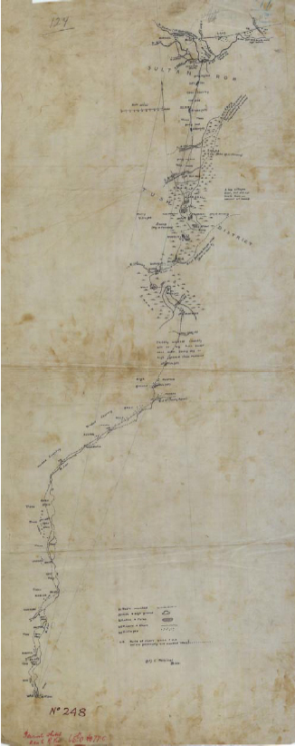 Captain Percival's Sketch Map from his 1904 journey through Abyei. Percival was a British officer whose sketch maps were used to make the provincial maps of Bahr el Ghazal province. In December 1904, he proceeded south via Keilak and crossed what he thought was the Bahr el Arab, before fording another river, which he reported to be the Kiir, some fifty miles south. Because the court case this essay deals with was mandated to rule on whether the Abyei Boundaries Commission had exceeded its mandate (to determine the are of the nine Ngok Chiefdoms transferred to Kordofan in 1905), maps of the period became a crucial source of evidence.