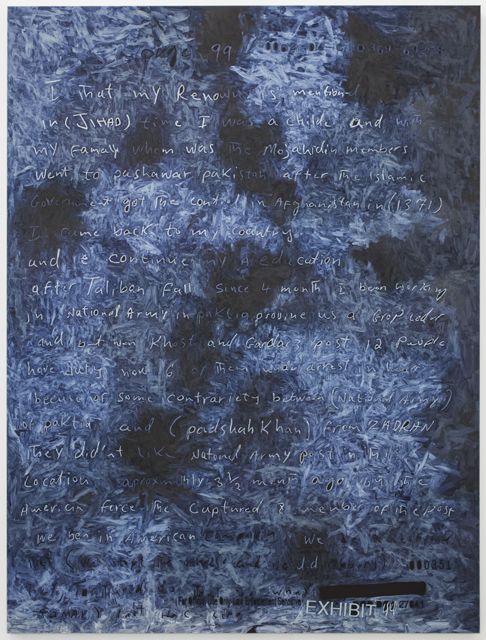Fig I. in (JIHAD) time, 2014, oil on linen, 57 x 44 in. / 147.3 x 111.8 cm. Text: U.S. government document. © 2014 Jenny Holzer, member Artists Rights Society (ARS), NY.
