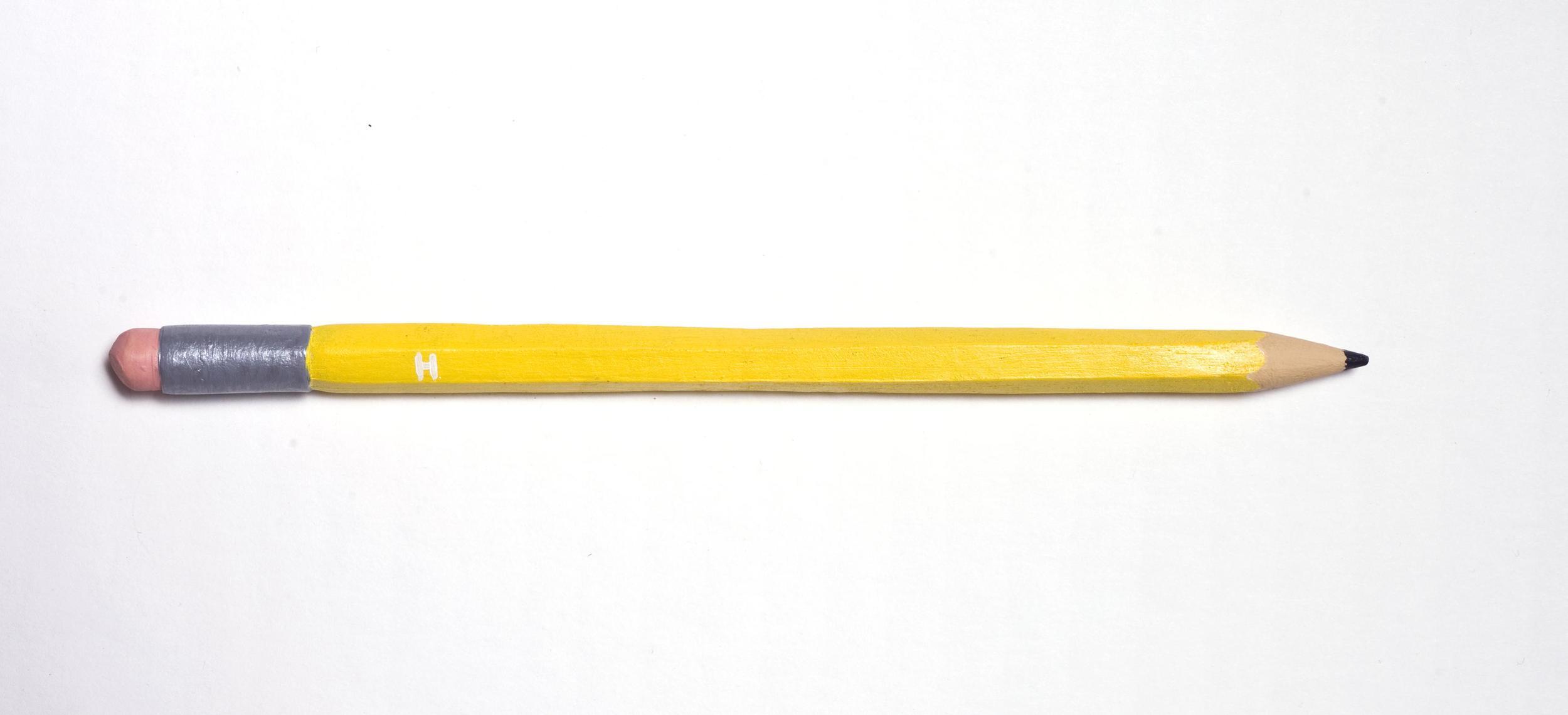Pencil , 2013, life-size, hand built stoneware, acrylic paint. Photo: Michal Kluvanek.