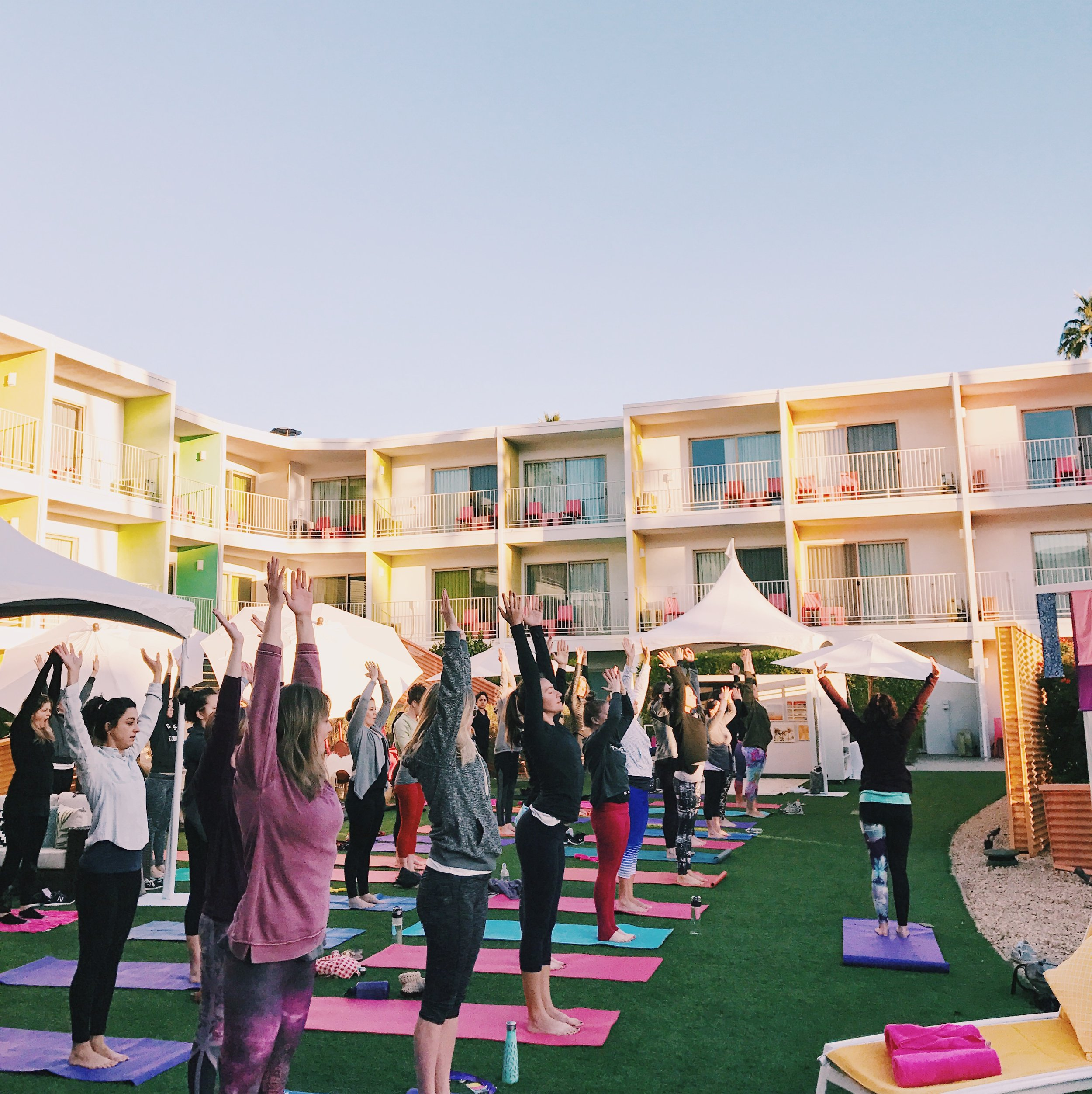 Yoga by the pool, followed by healthy smoothies sponsored by Vitamix. #yesplease