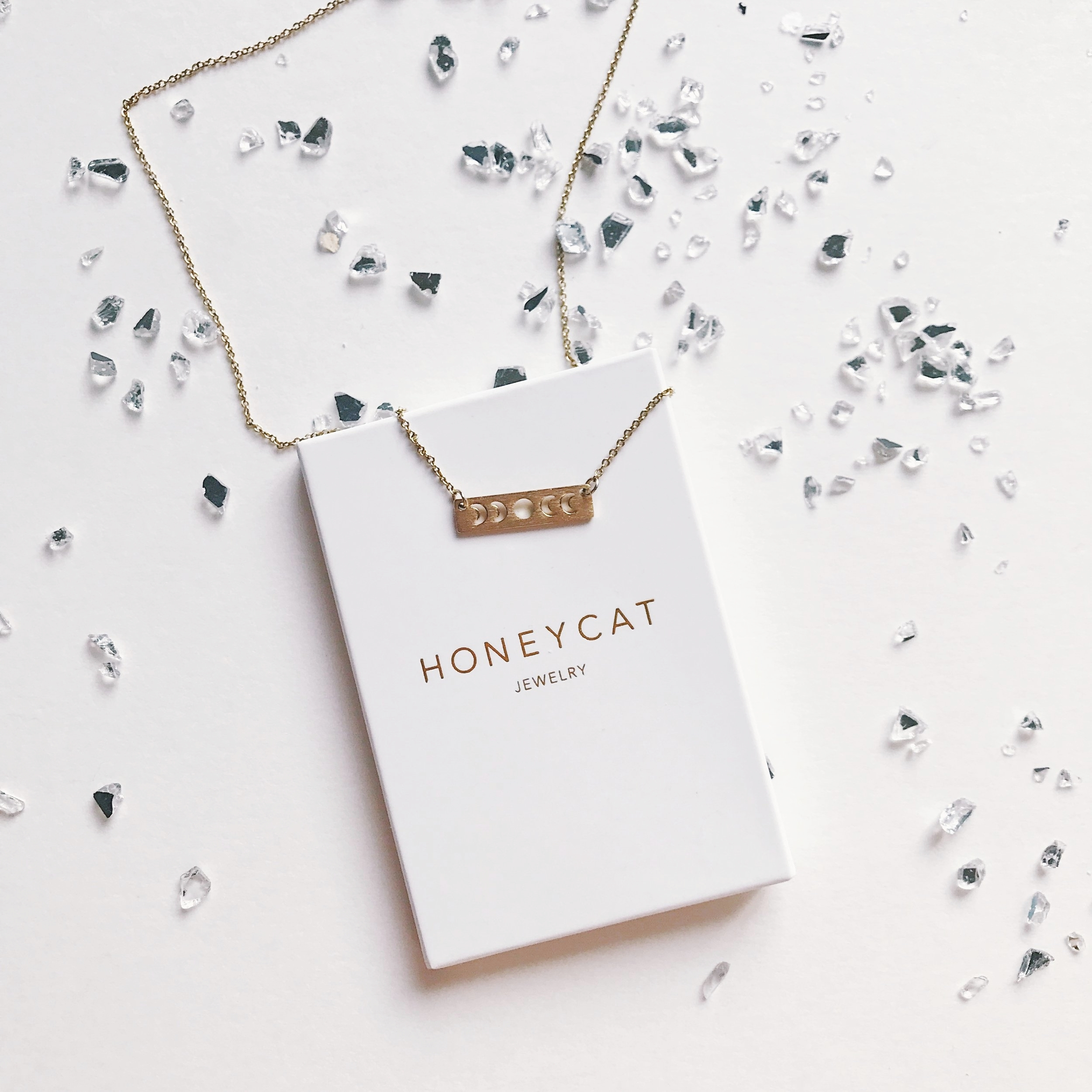 honeycat necklace moon phases